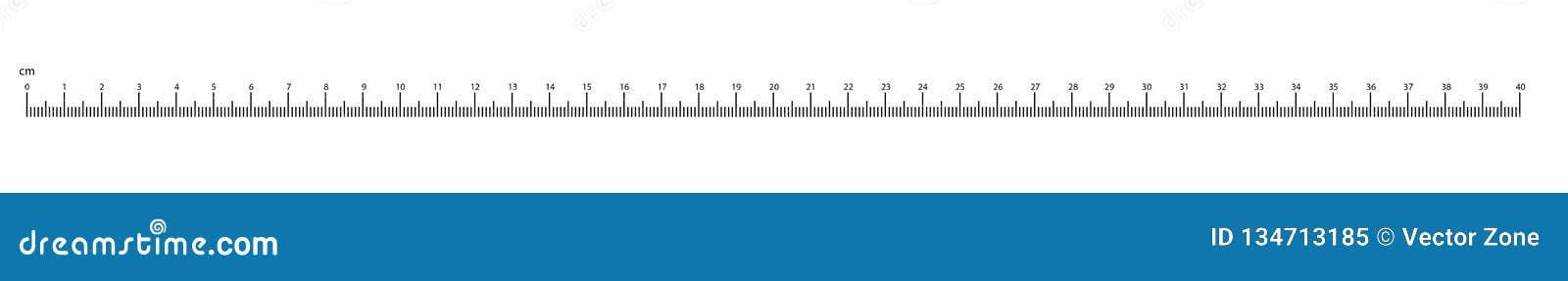 Escala do vetor dos números da medida até 40cm do cm da régua