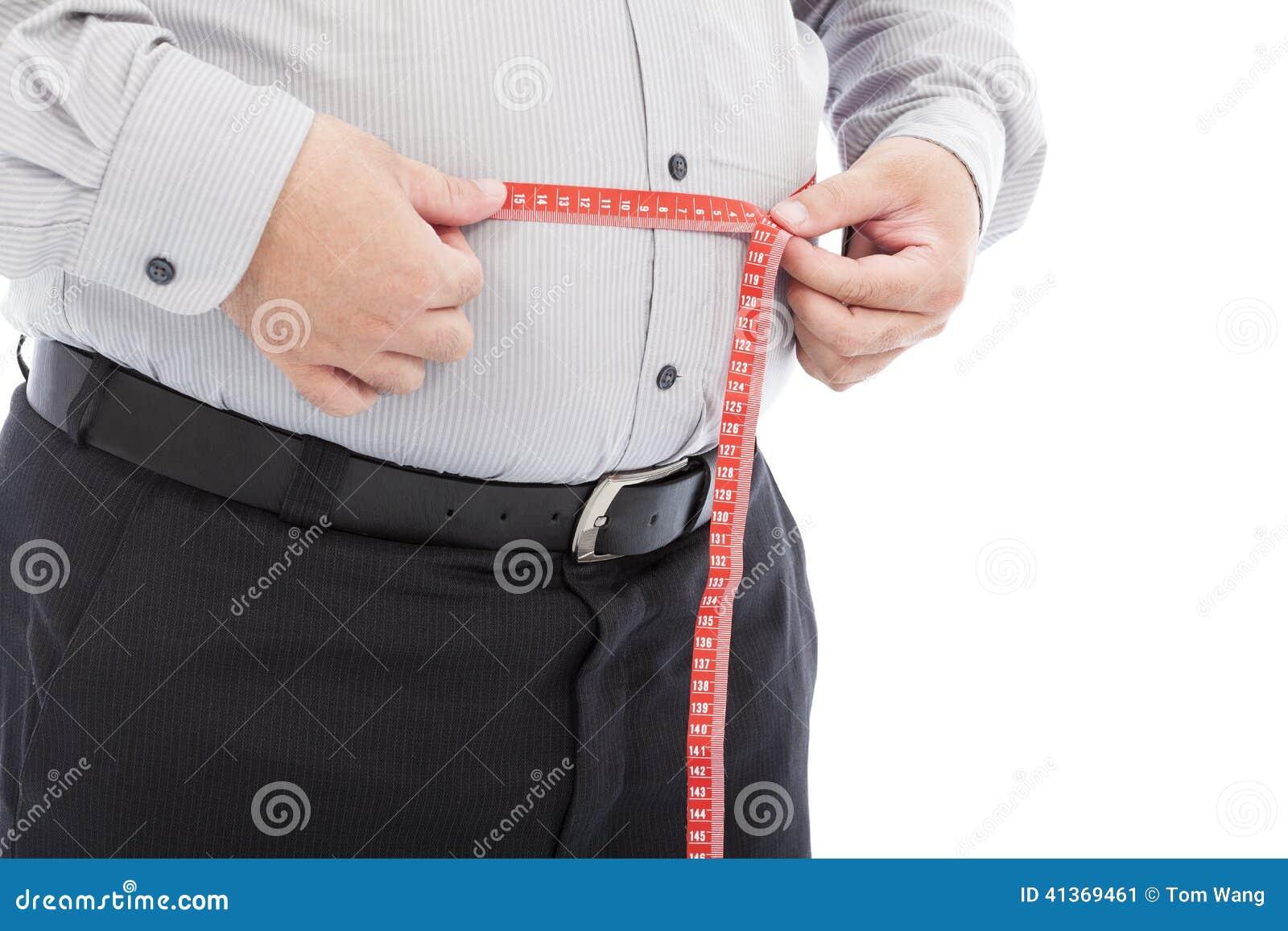Escala gorda del uso del hombre de negocios para medir su cintura
