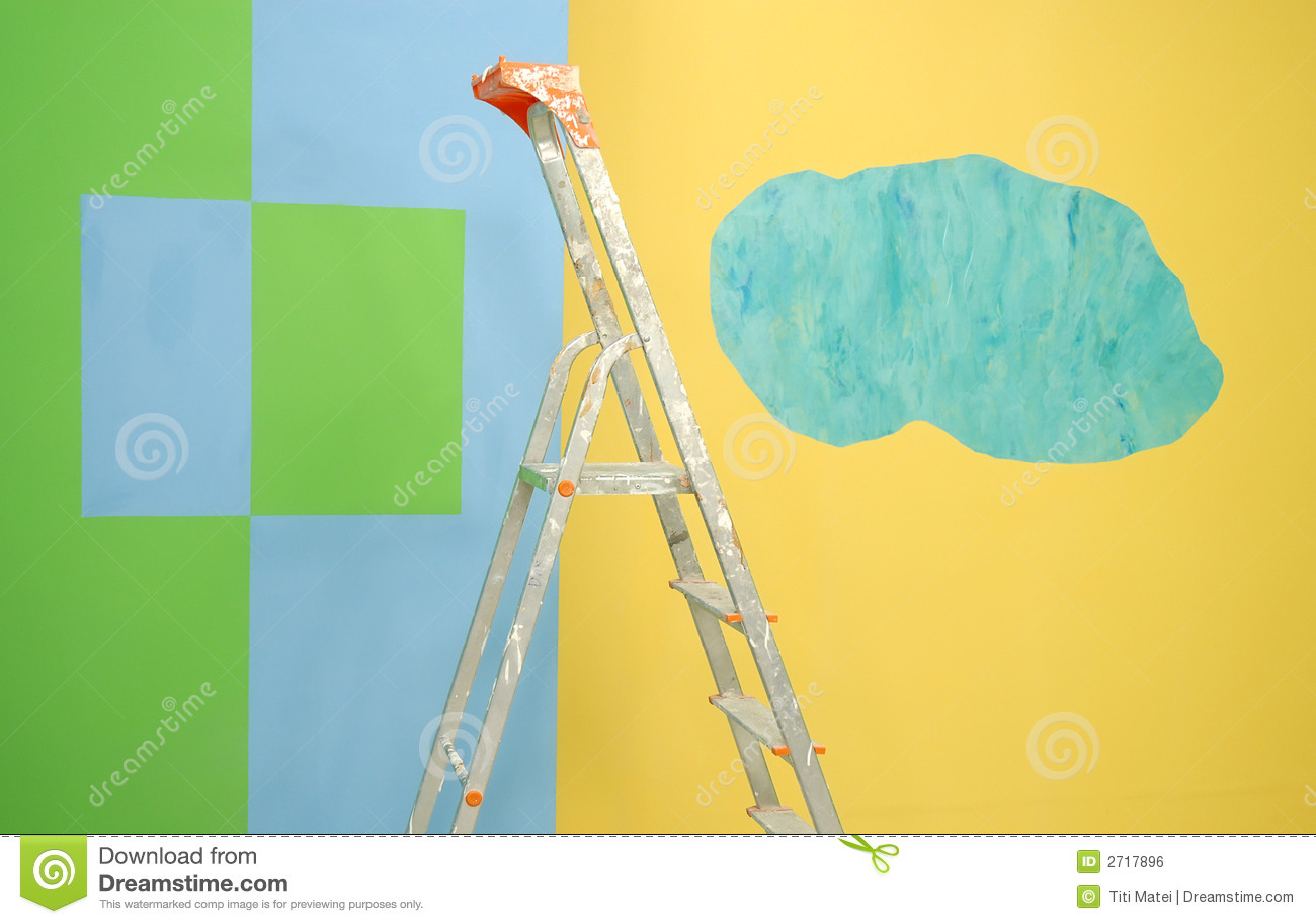 Escala por las paredes pintadas imagen de archivo libre de for Fotos paredes pintadas