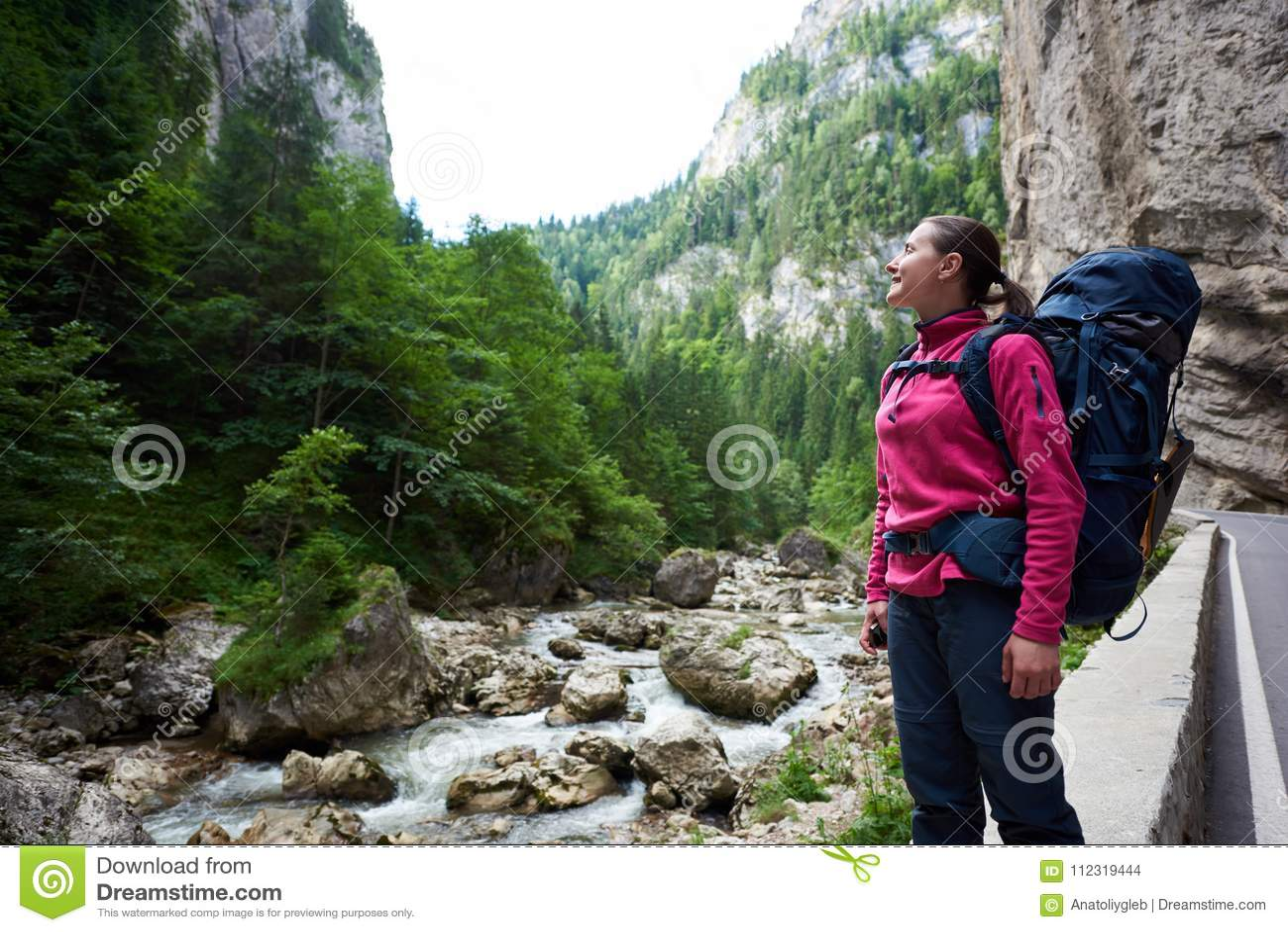 Escalador femenino que admira vista asombrosa de montañas rocosas y de la corriente herbosas verdes del agua en área montañosa en