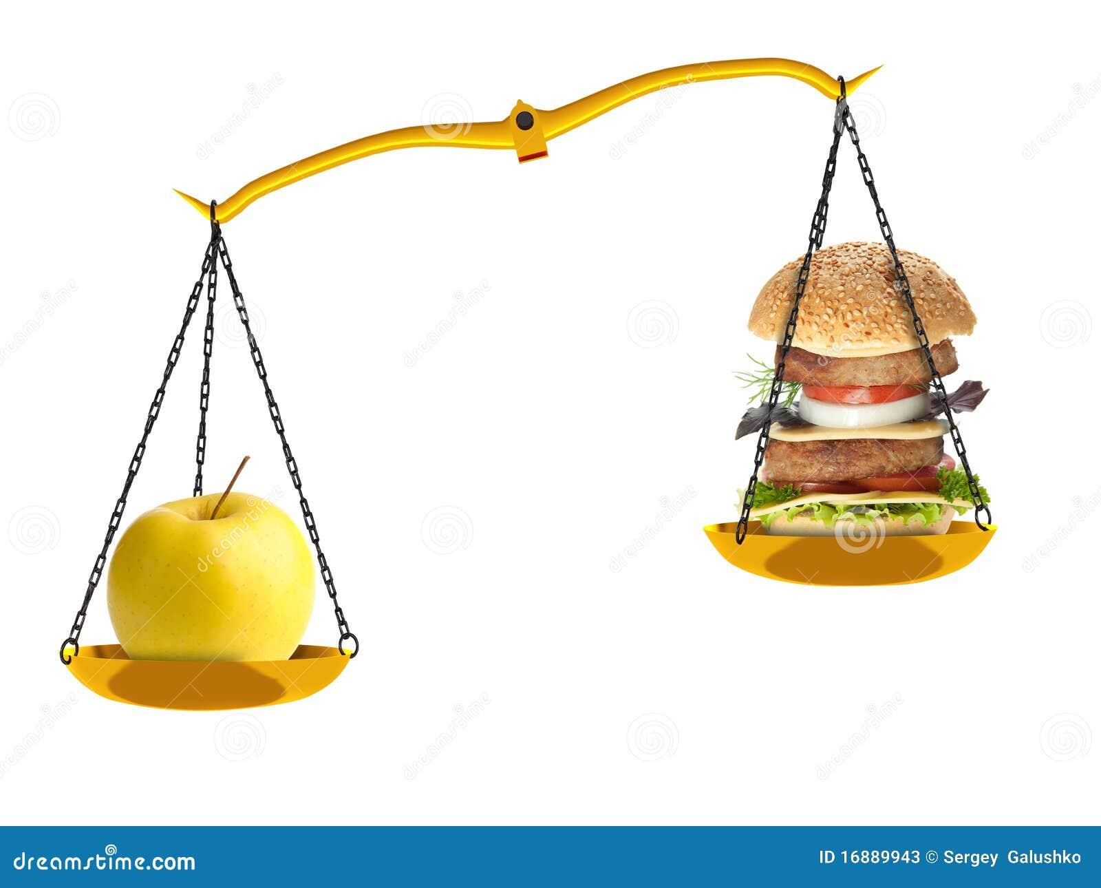 Escalas con una manzana y una hamburguesa