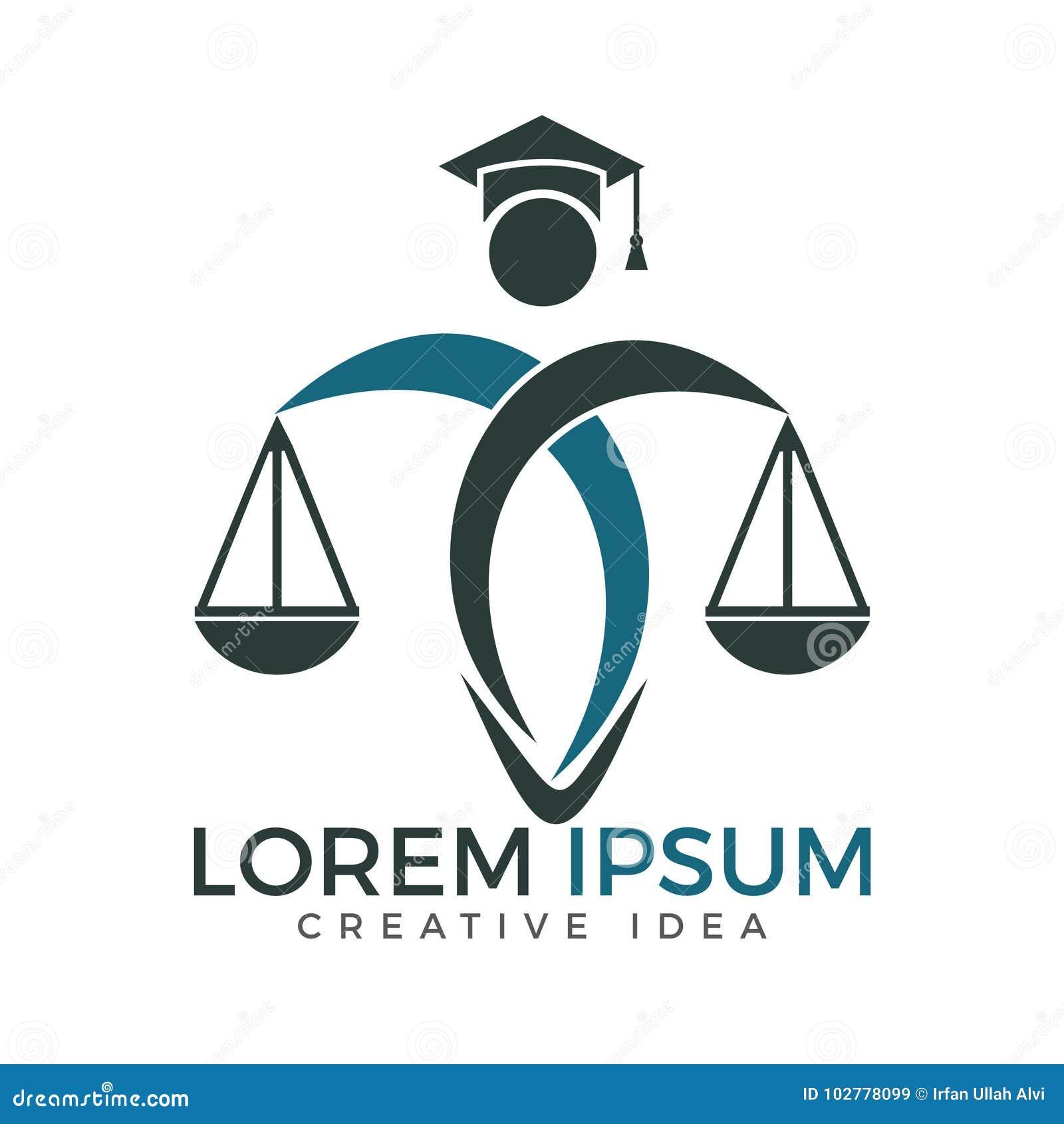 Escalas da terra arrendada do homem de justiça Logo Lei e advogado Logo Design