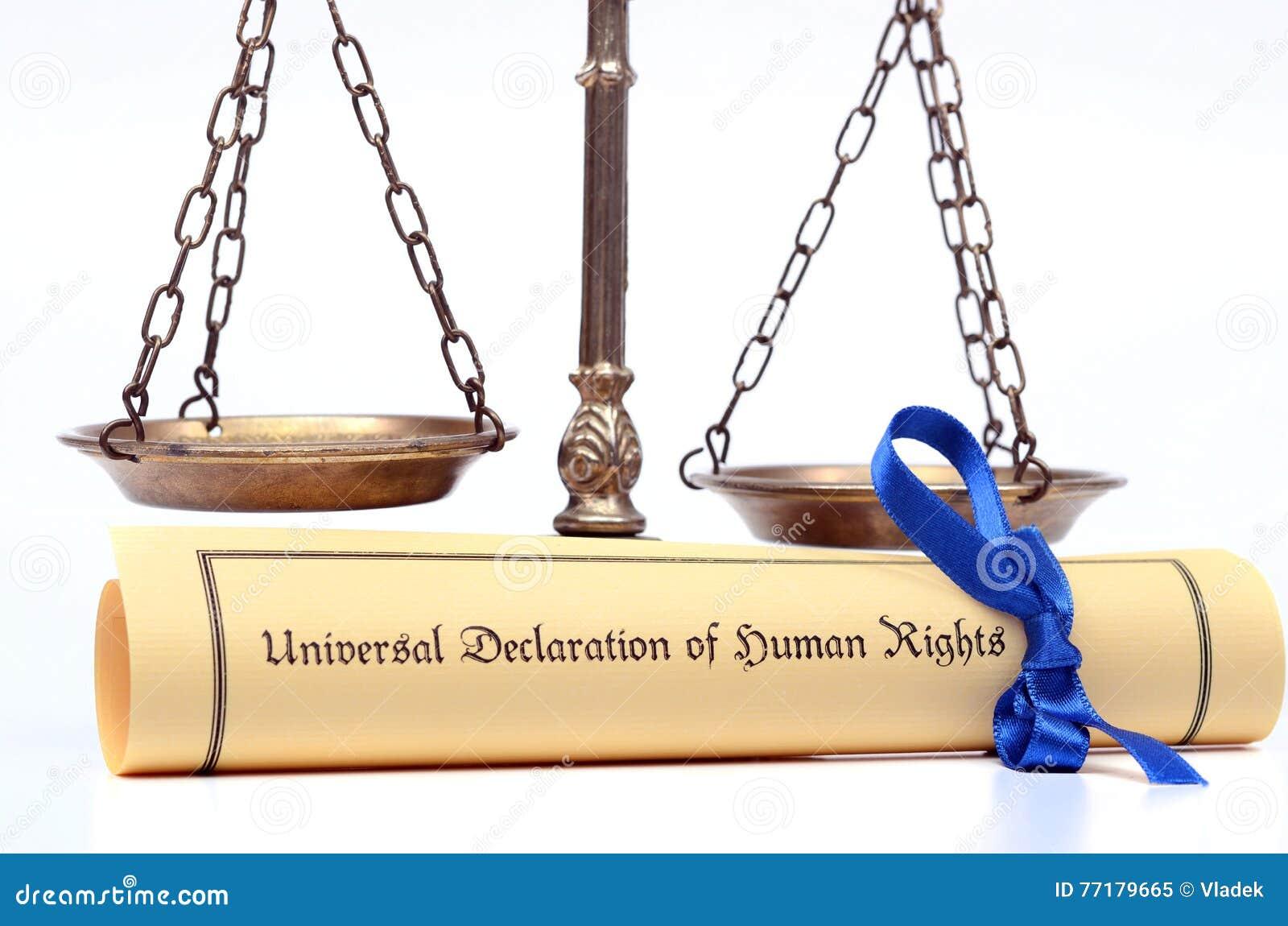 Escalas de justiça e da declaração universal de direitos humanos
