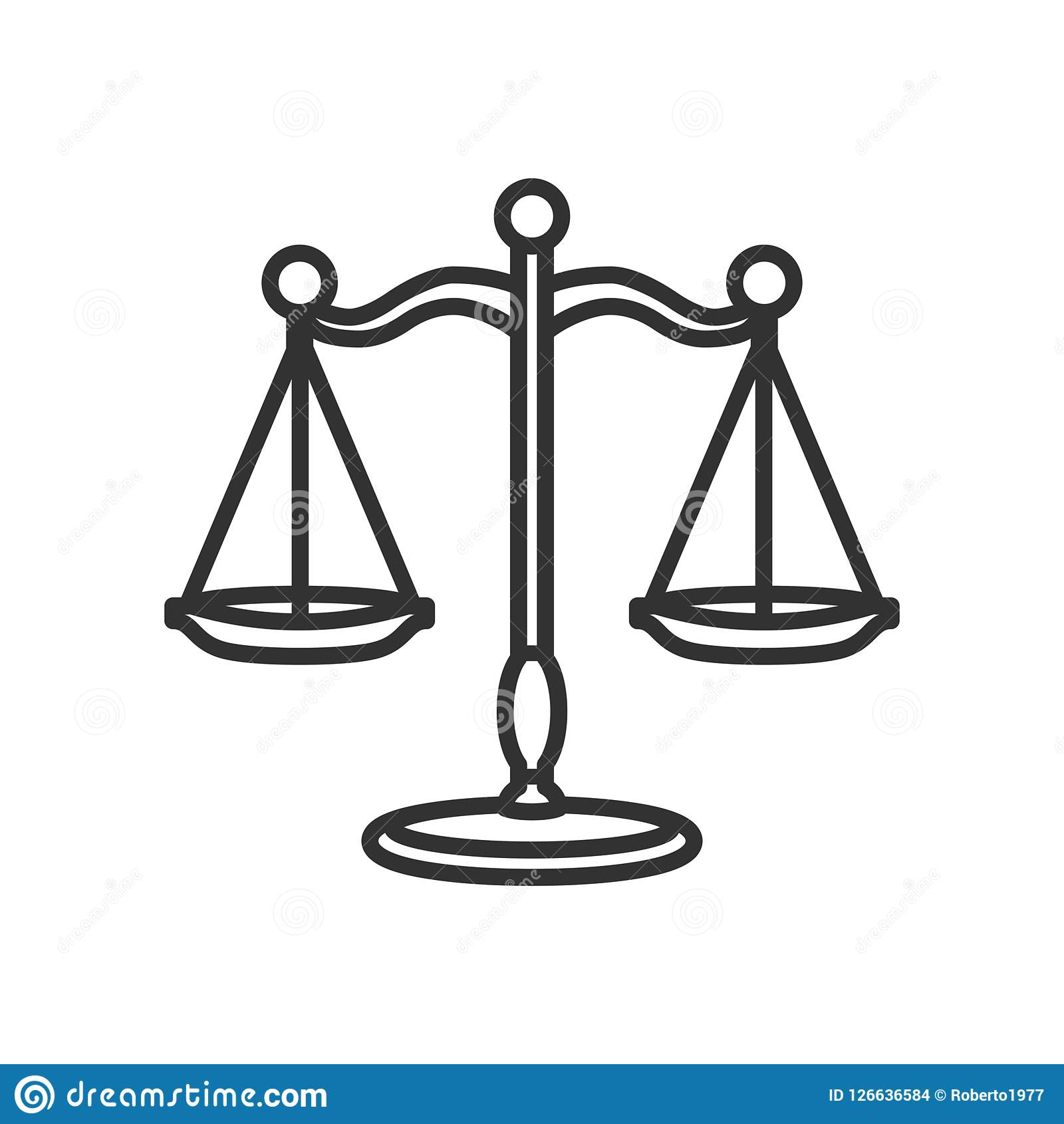 Escalas de la justicia Outline Flat Icon en blanco