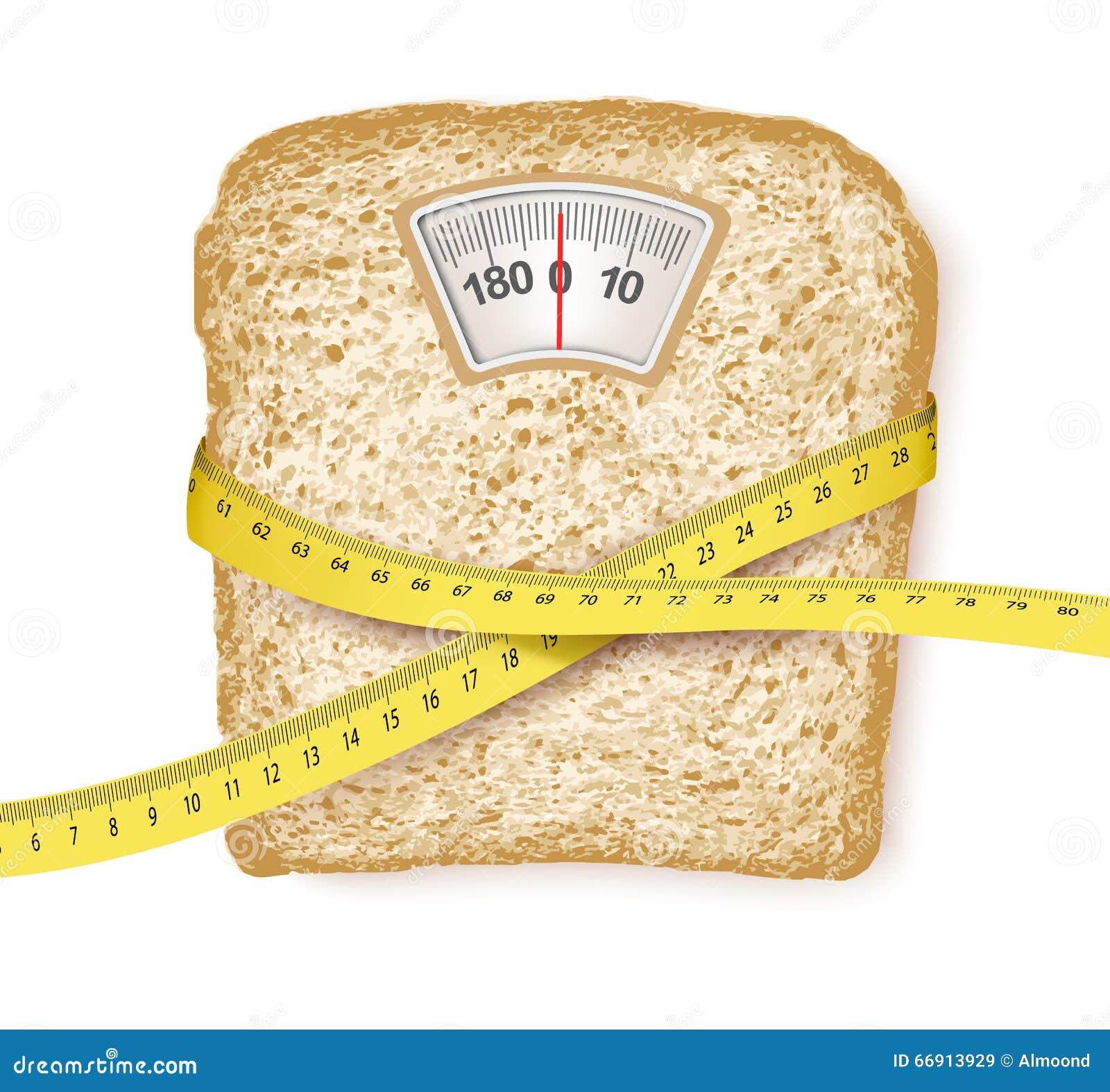 Escalas de peso no formulário de uma fatia do pão e de uma fita de medição