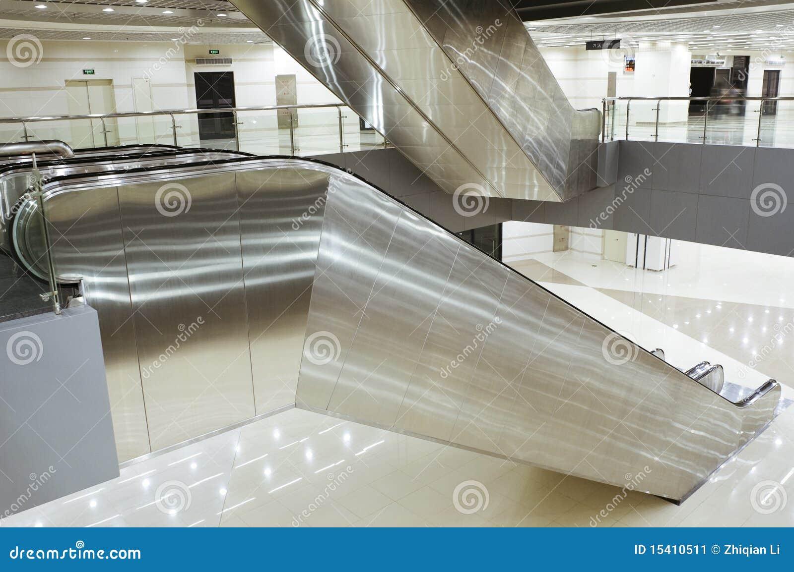 Stainless Steel Escalators : Escalator stock image