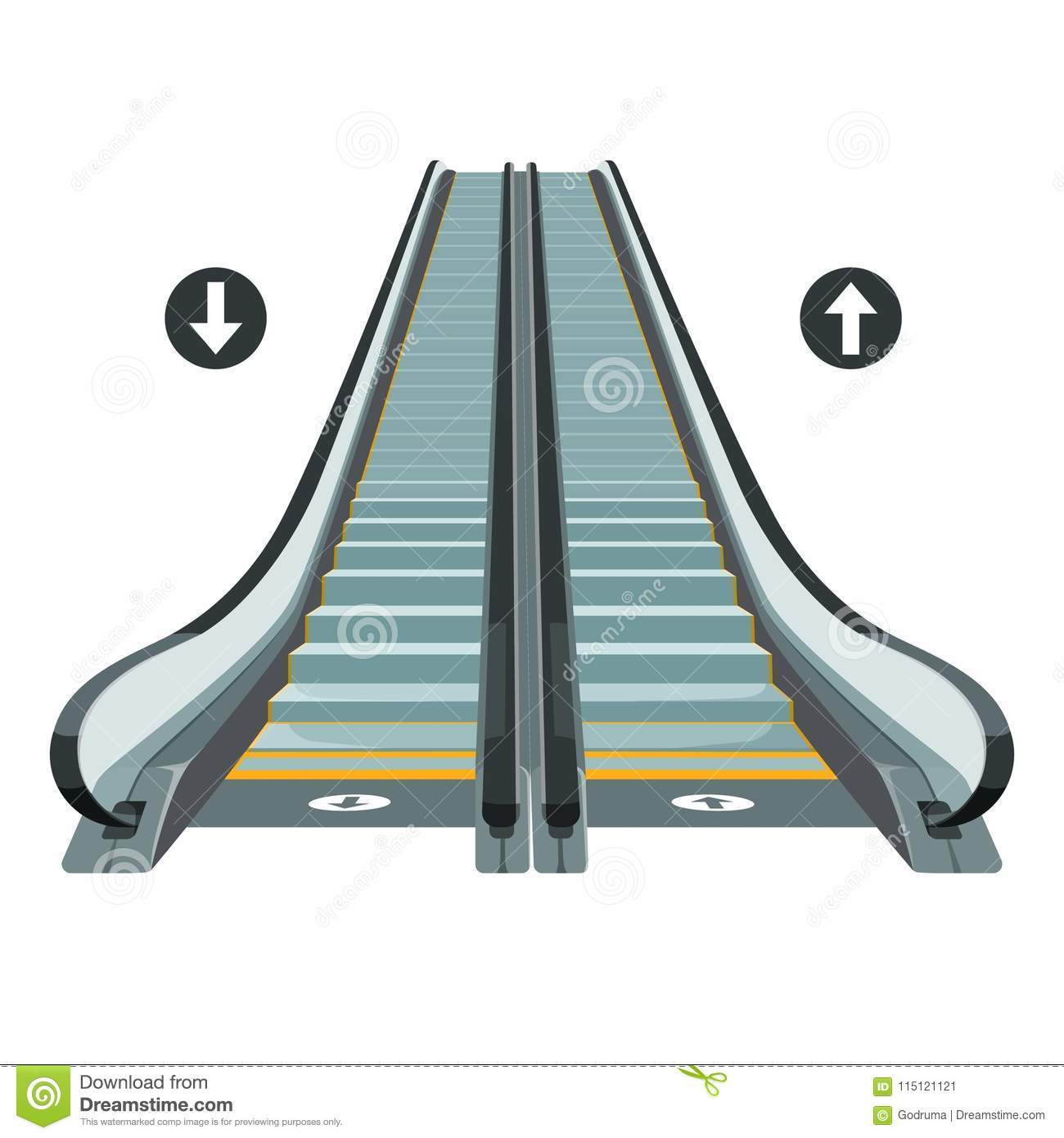 Escalator Moving Staircase With Arrows Showing Way Of