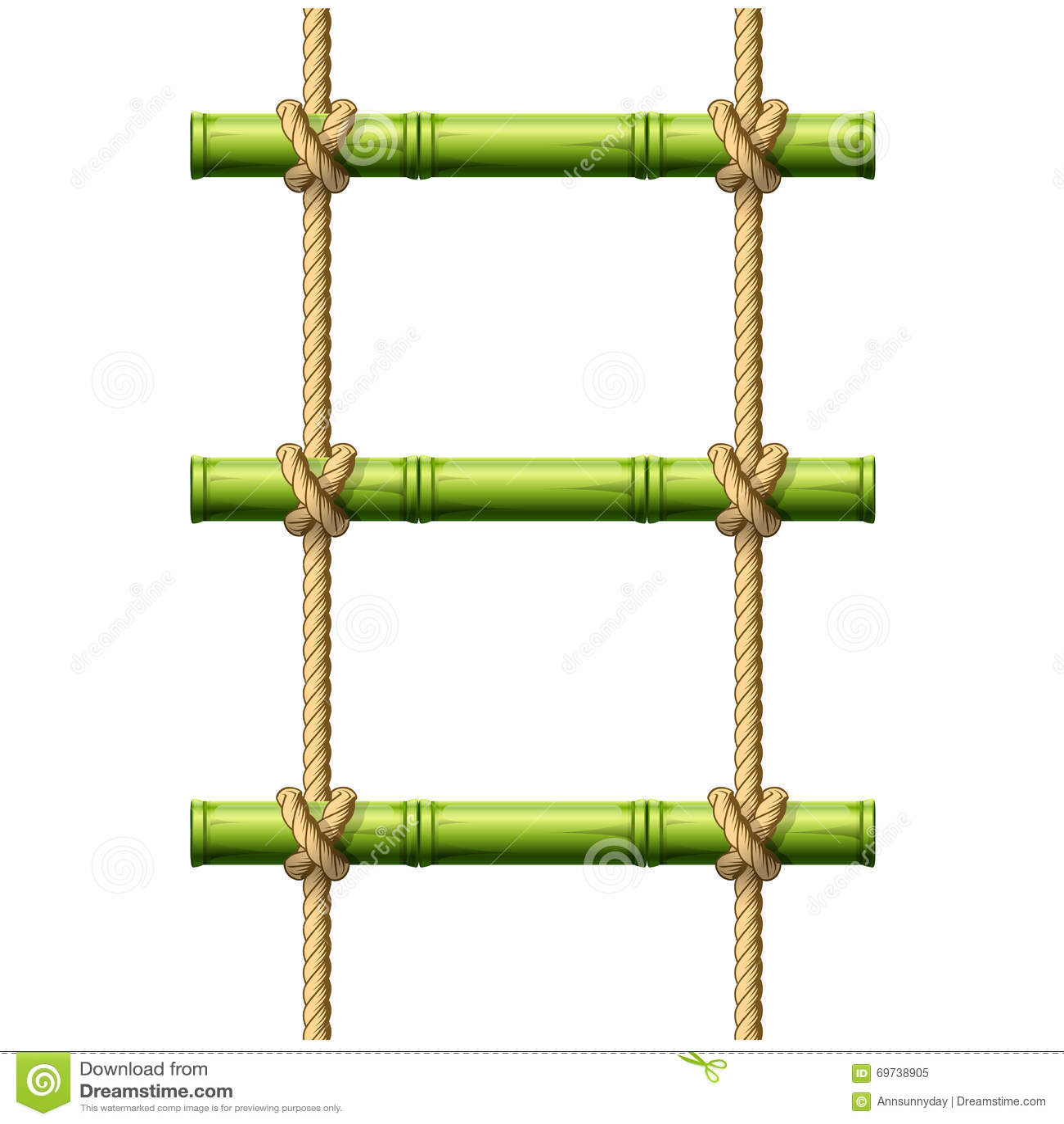 Escalera de cuerda de bamb ilustraci n del vector - Escalera de cuerda ...