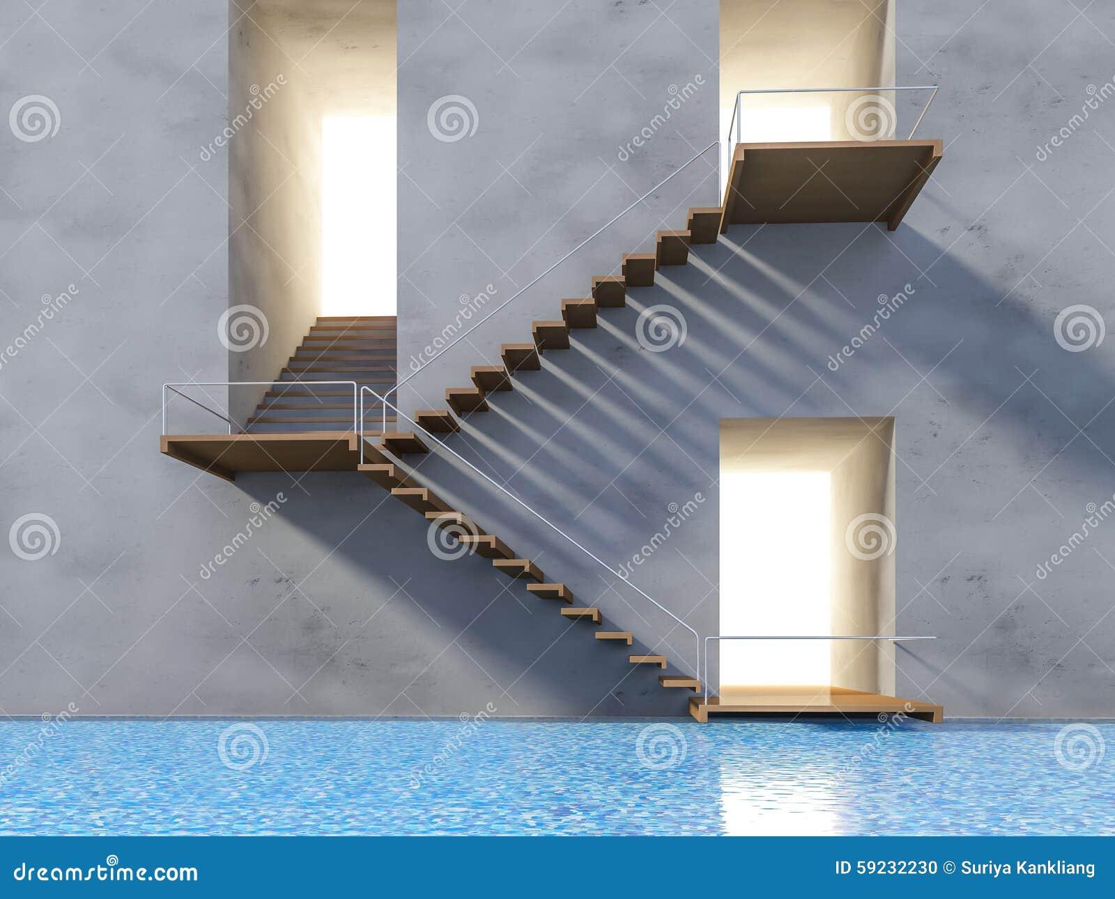 Download Escalera de madera 3ds stock de ilustración. Ilustración de blanco - 59232230