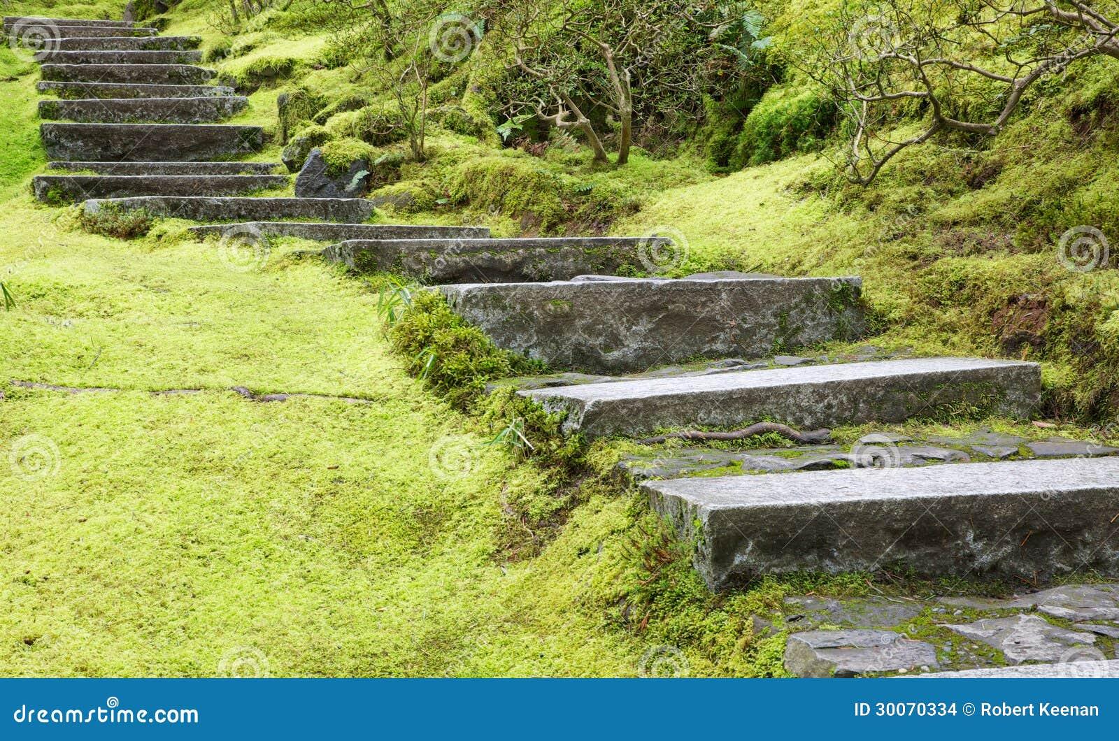 Escalera de piedra plana del jard n asi tico imagenes de - Escalones de piedra ...