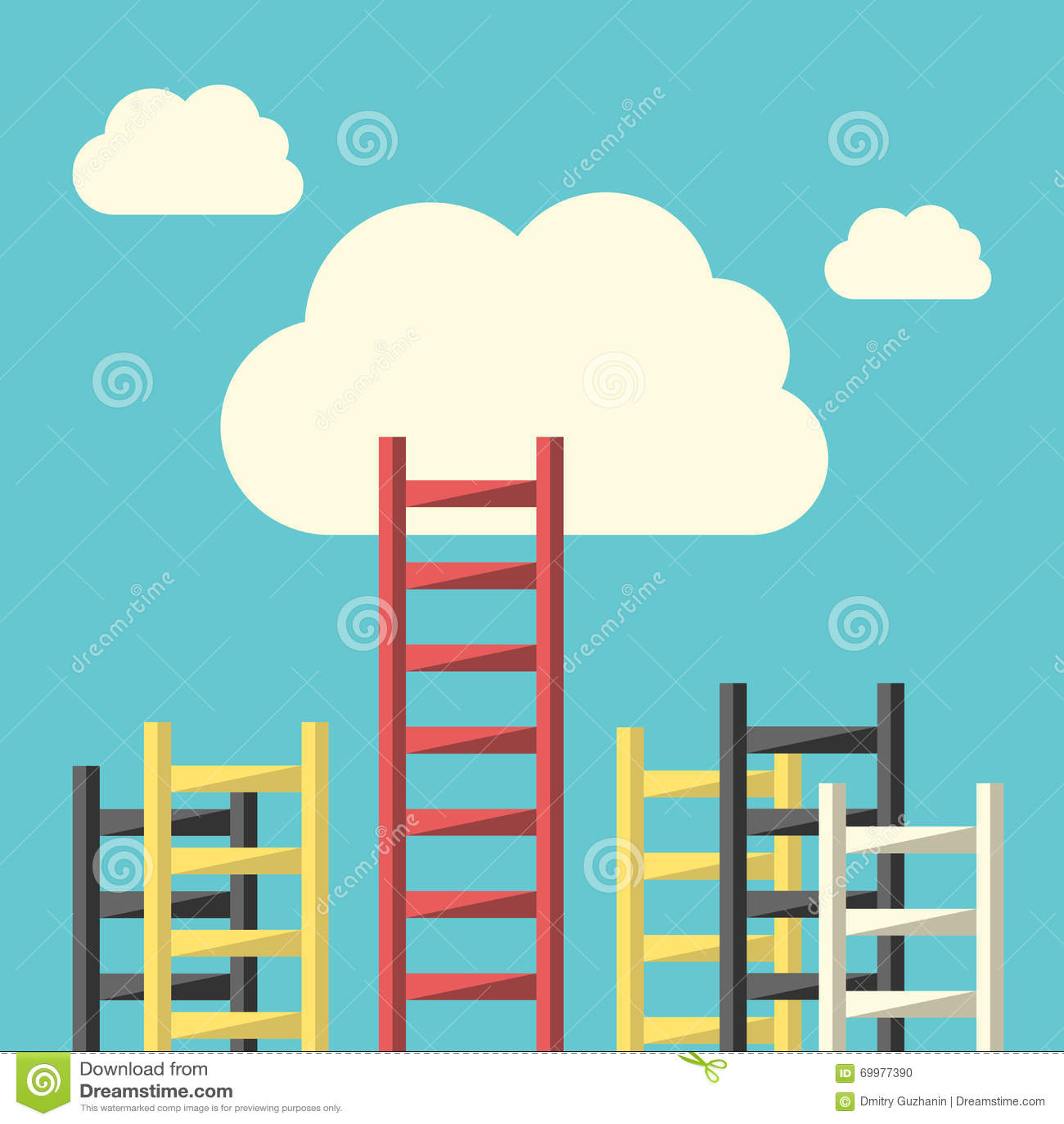 Escalera del éxito a nublarse