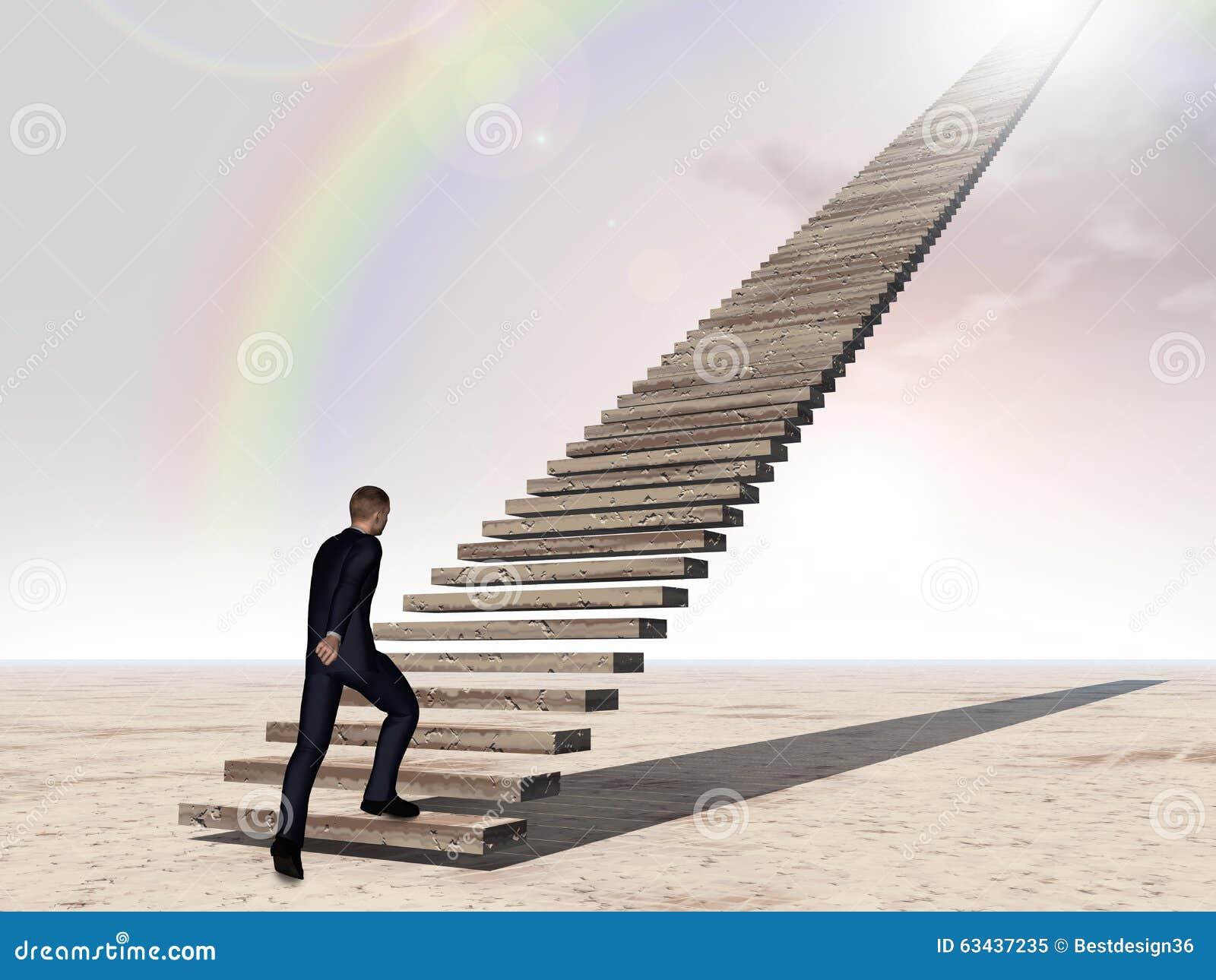 Escalera que camina o que sube del hombre de negocios conceptual 3D sobre el cielo del arco iris