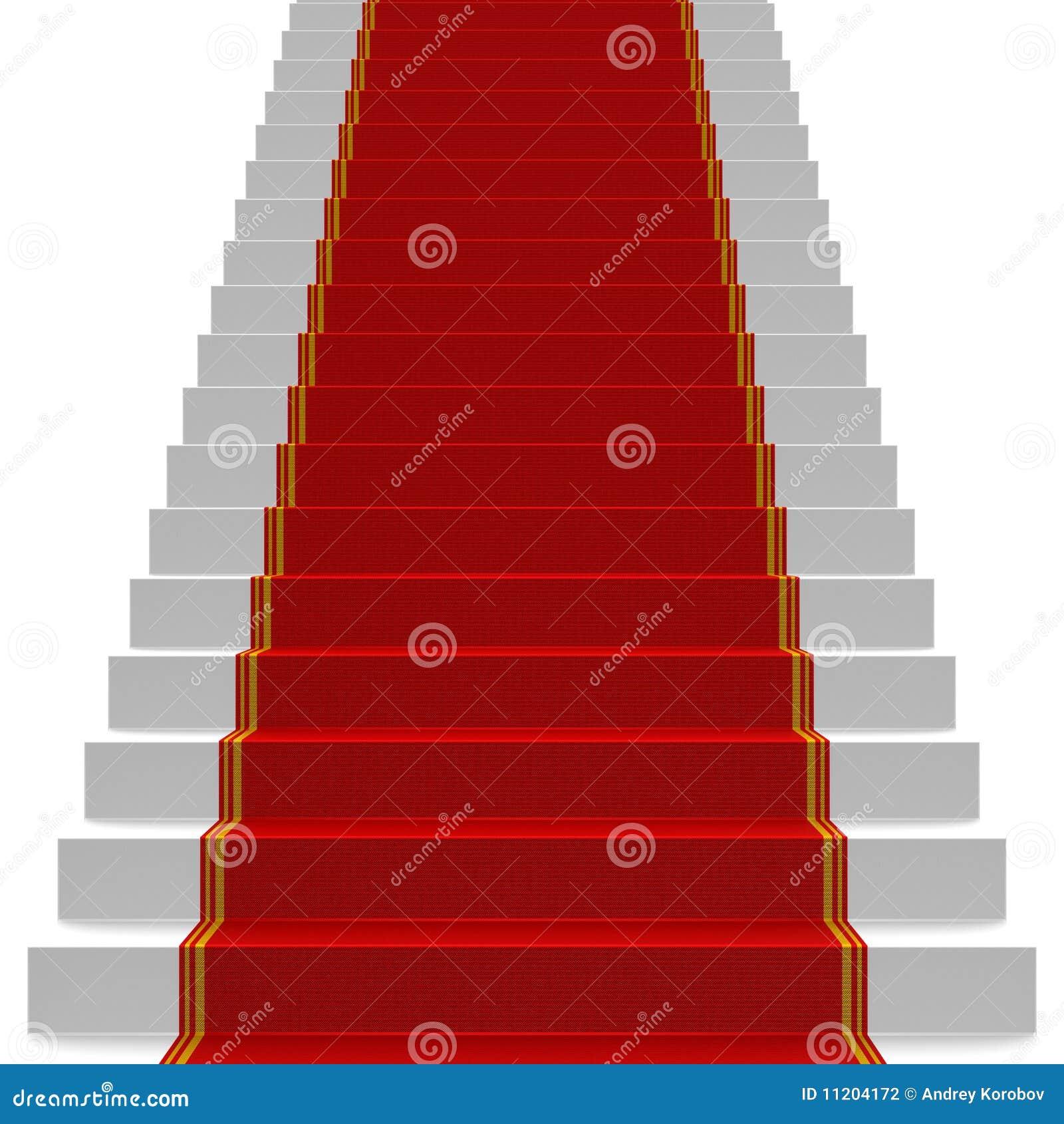 Escaleras blancas cubiertas con la alfombra roja for Escaleras con alfombra