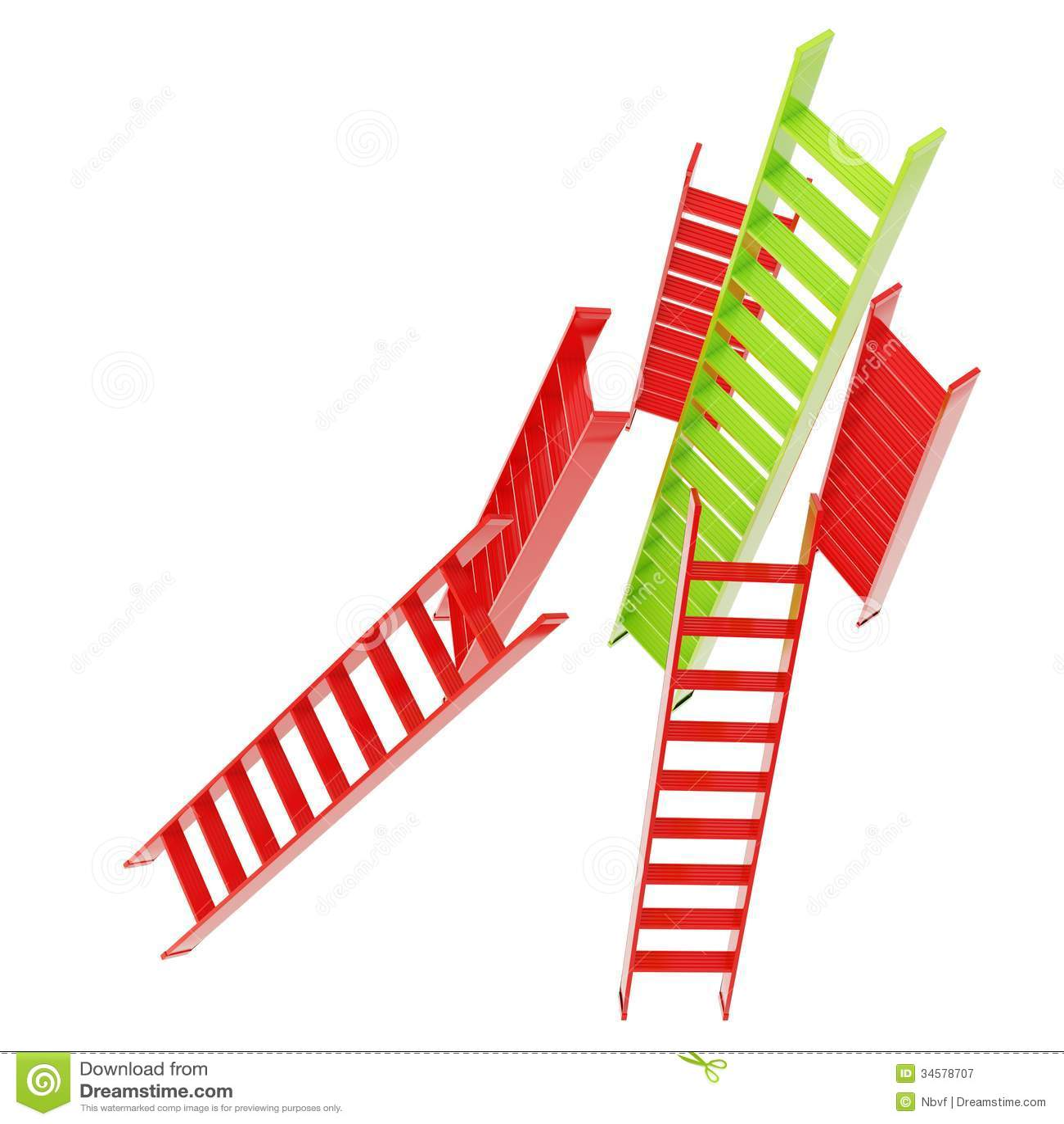 Escaleras brillantes rojas y verdes aisladas en blanco