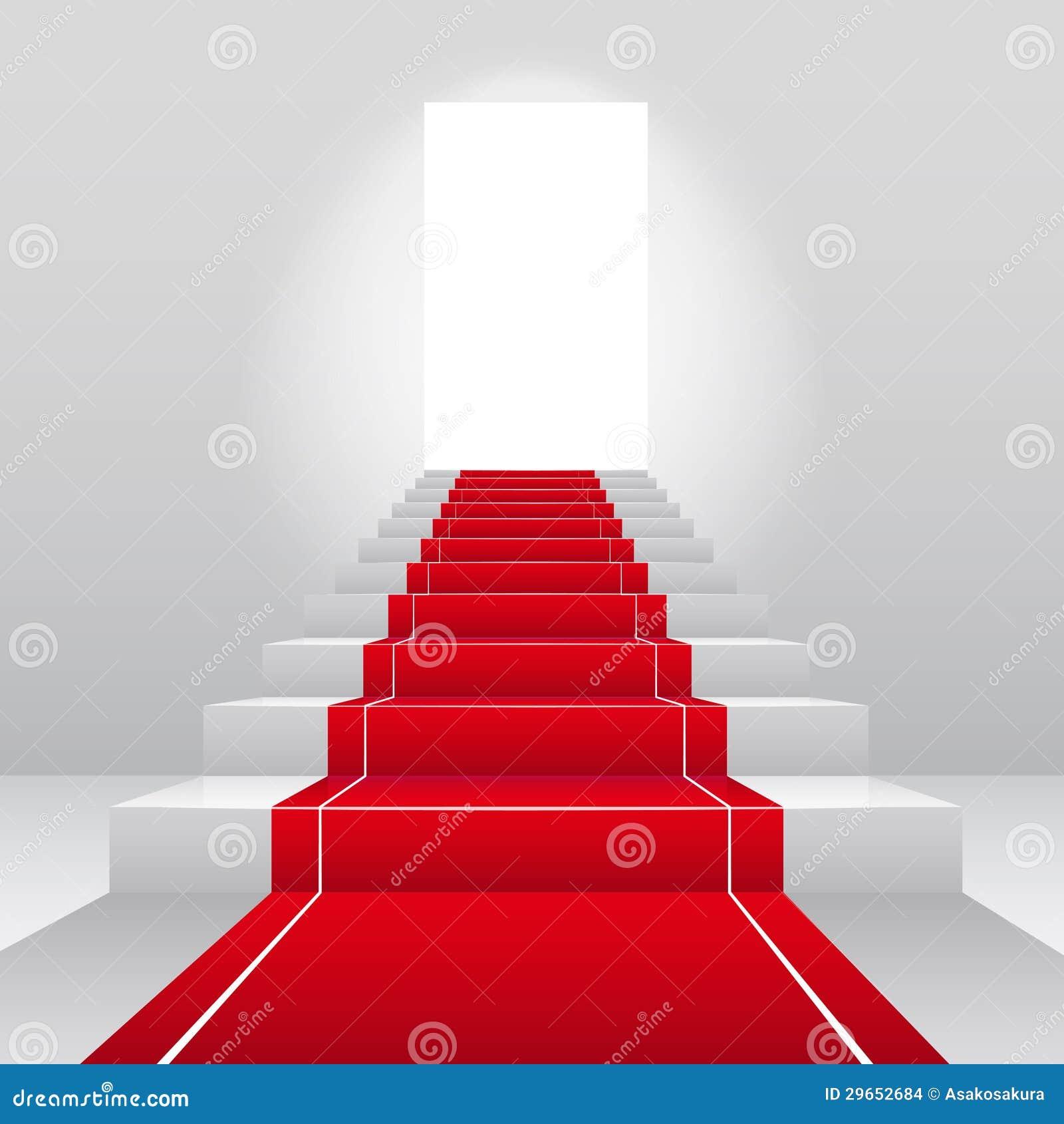 Escaleras con la alfombra roja del terciopelo imagenes de for Alfombra terciopelo