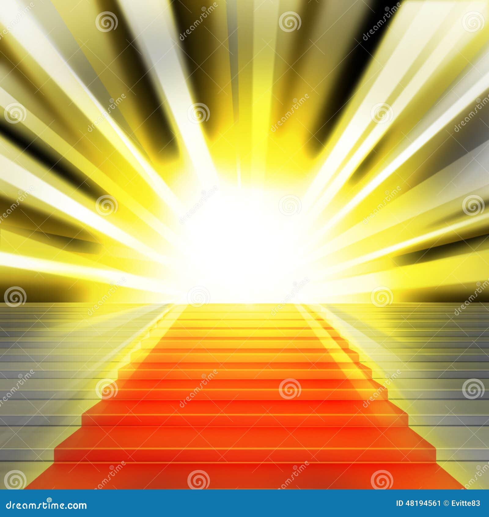 Escaleras con la alfombra roja y con las luces stock de for Escaleras con alfombra