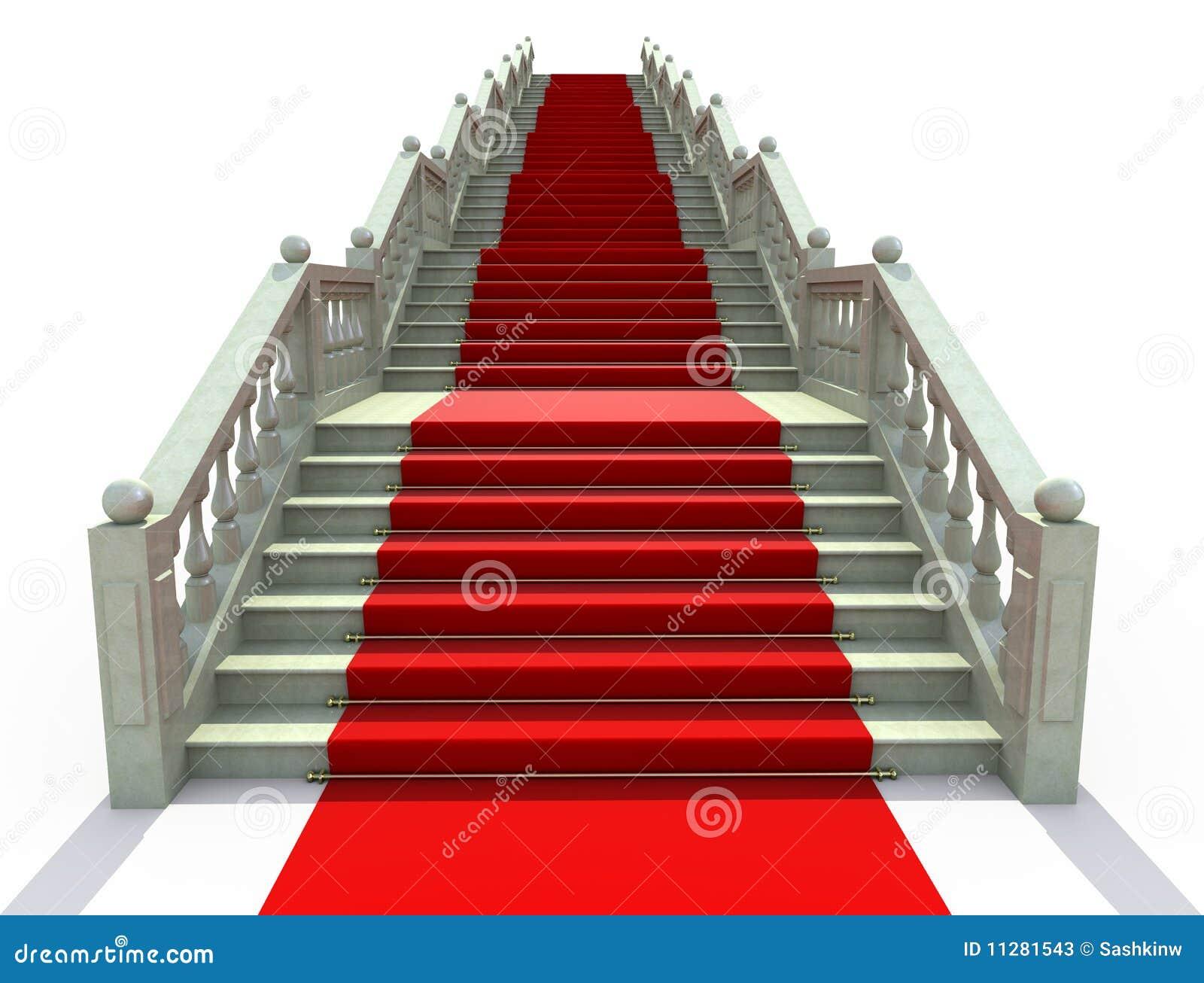 Escaleras cubiertas con la alfombra roja fotos de archivo for Escaleras con alfombra