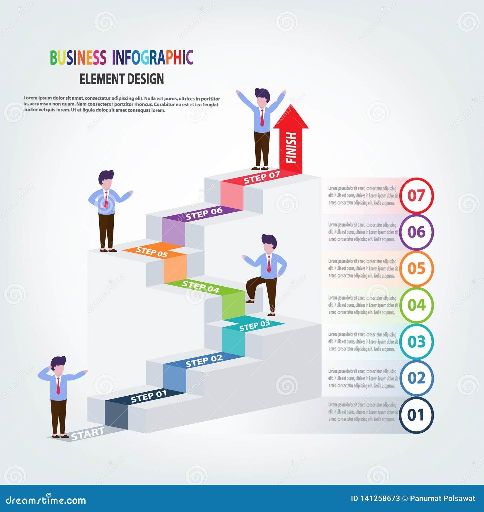 Escaleras de la plantilla del negocio de Infographics con los pasos de la flecha para la presentación, pronóstico de la venta, me