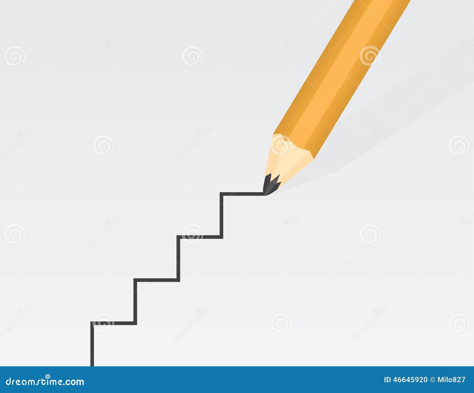Drawing Straight Lines With Procreate : Escaleras del dibujo de lápiz ilustración vector