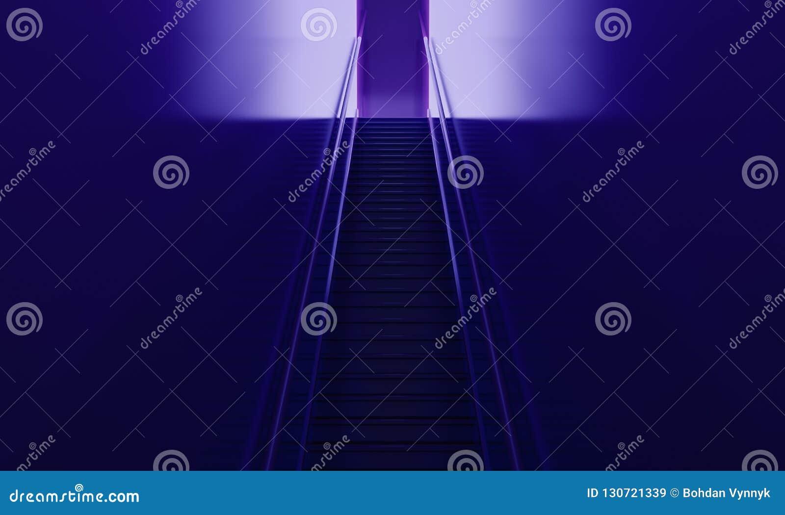 Escaleras en el interior púrpura