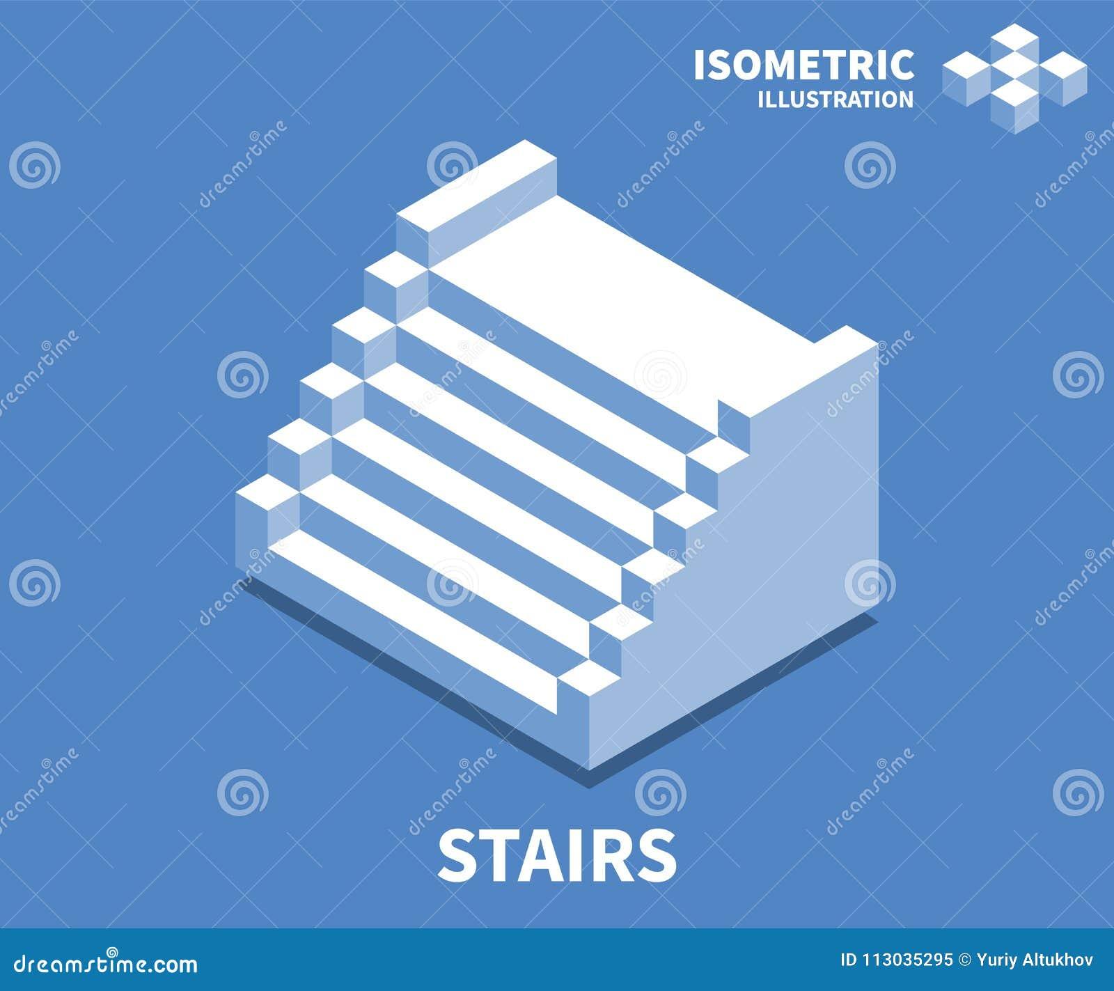 Escaleras icono, ejemplo del vector en el estilo isométrico plano 3D