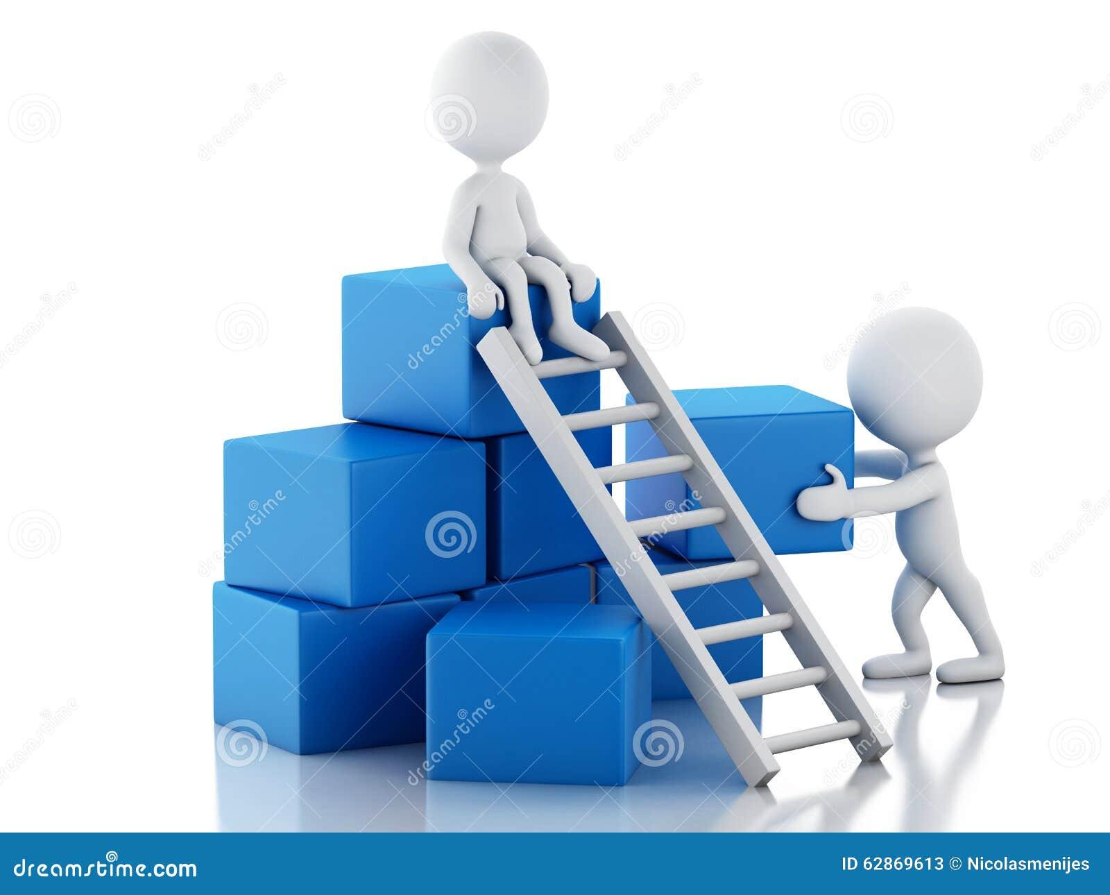 Escaleras que suben de la gente blanca 3d concepto del for Escaleras de trabajo
