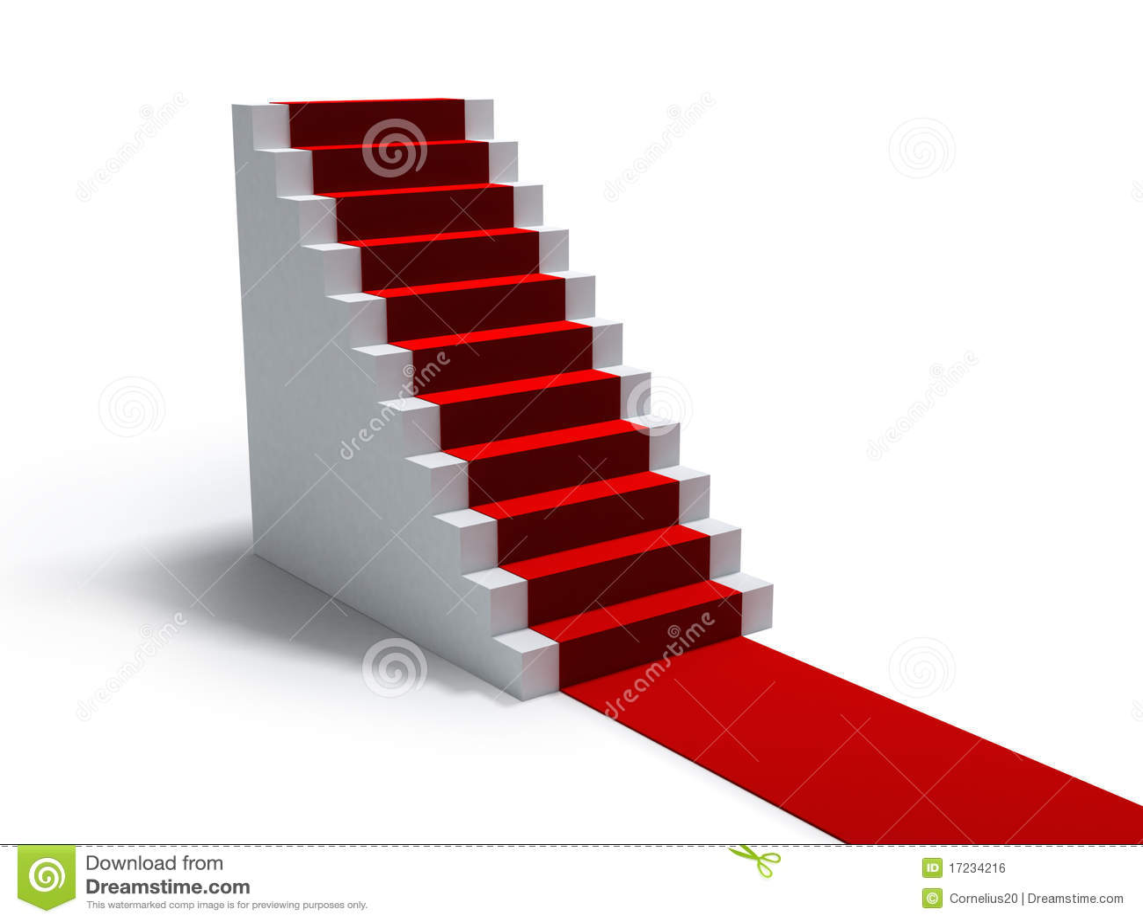 Escaleras y alfombra roja stock de ilustración. Ilustración de ...