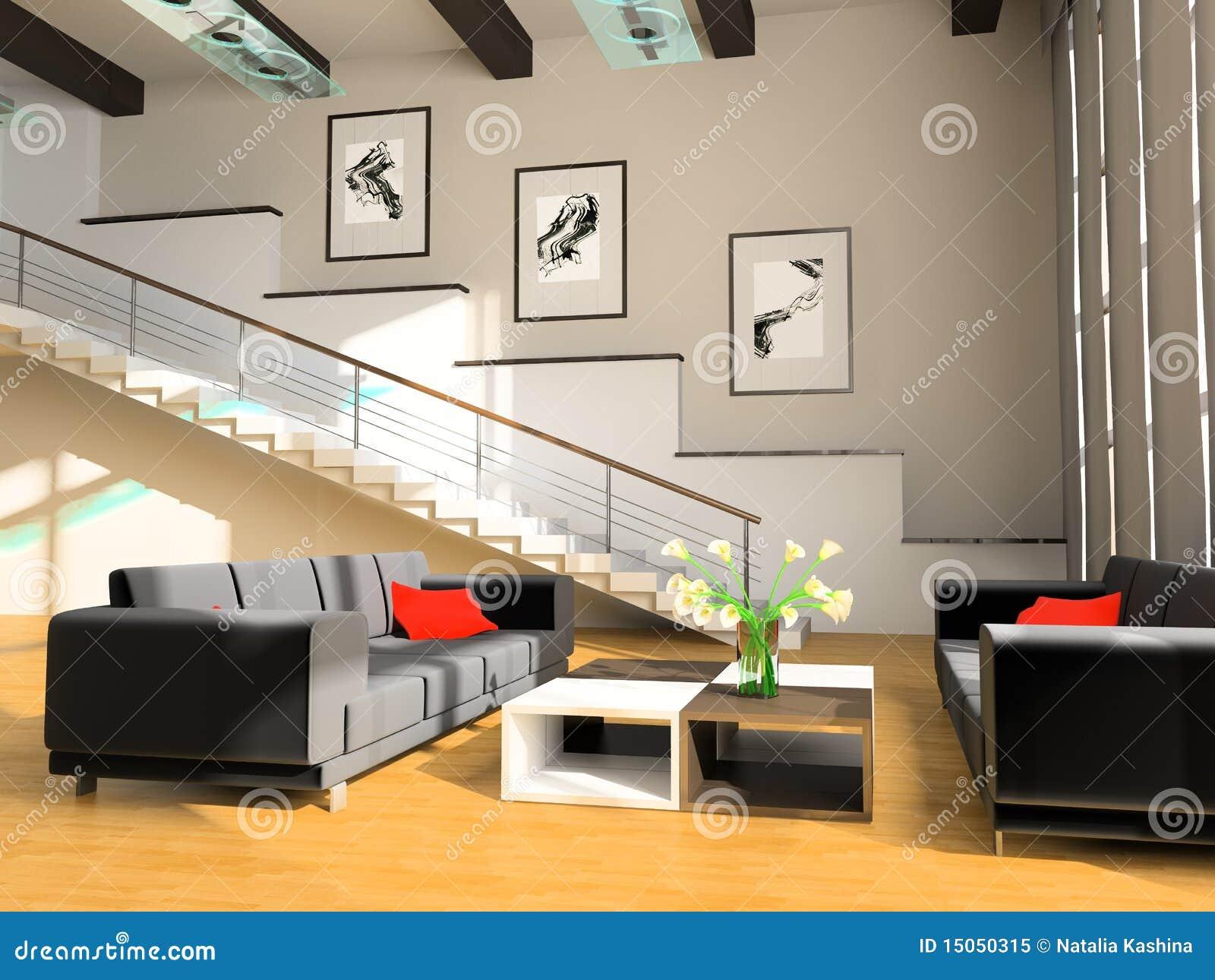 Escalier Dans Un Salon Illustration Stock Illustration Du