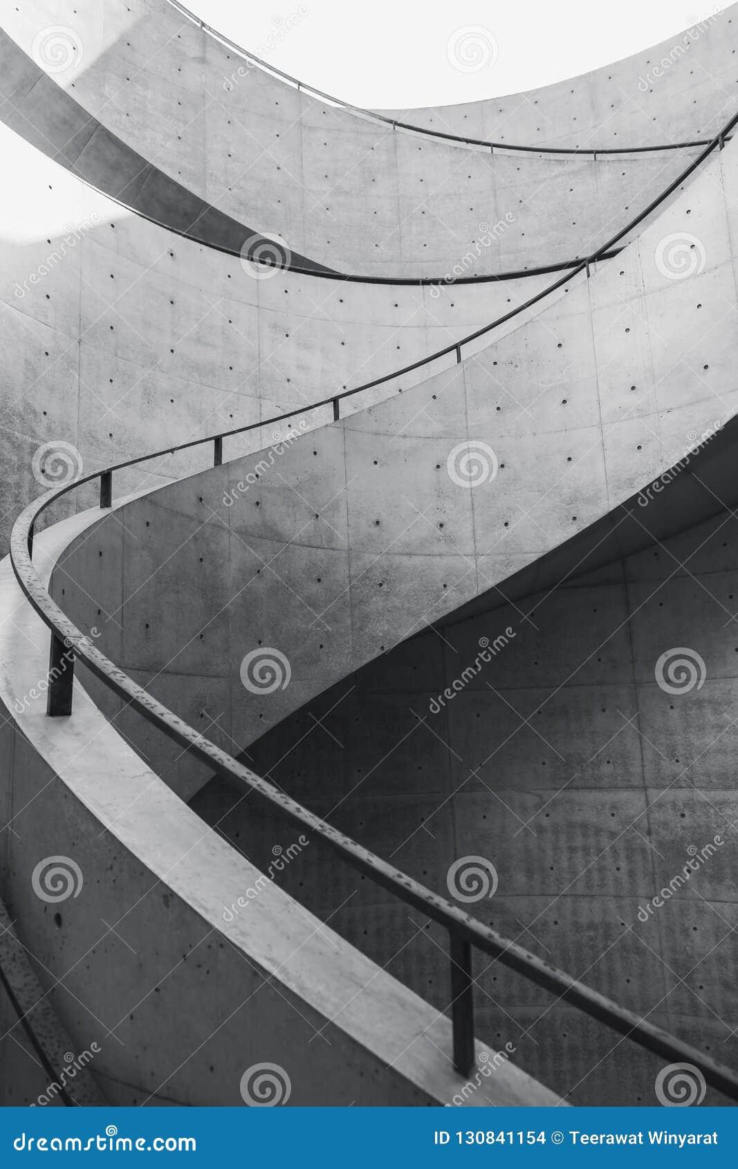 Escalier De Ciment De Détails D Architecture De Courbe D Escalier