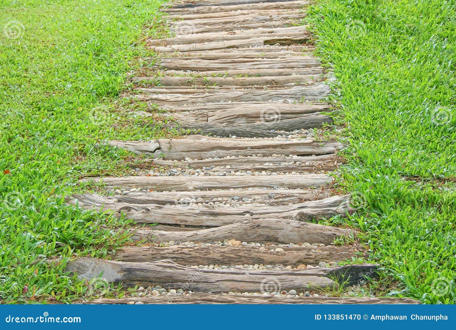 Escalier En Bois Avec Le Petit Modèle De Roches Dans Le Jardin, Fond ...