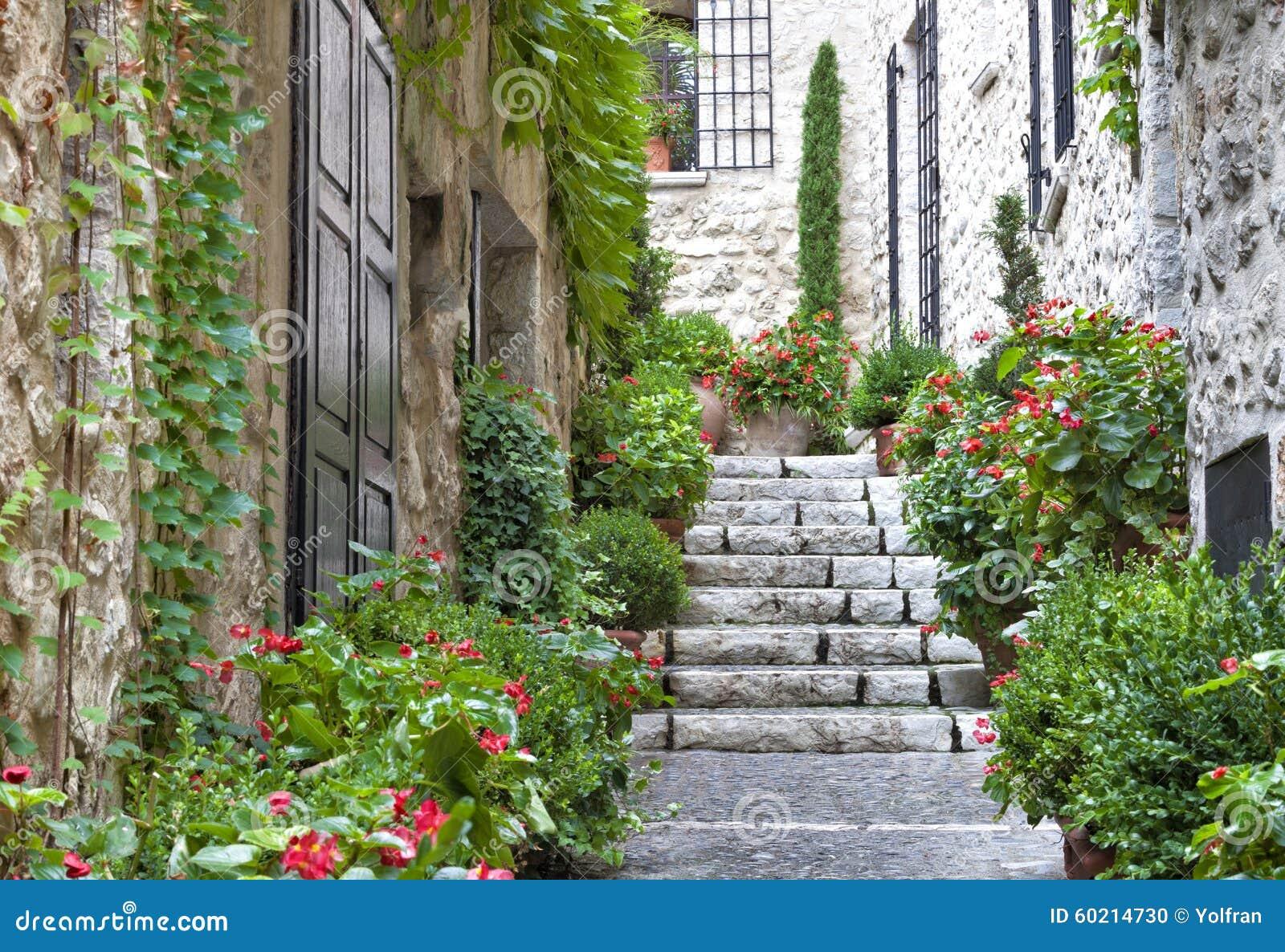 Escalier gris dans la vieille maison en pierre de village avec des usines de jardin photo stock - Escalier de jardin en pierre ...