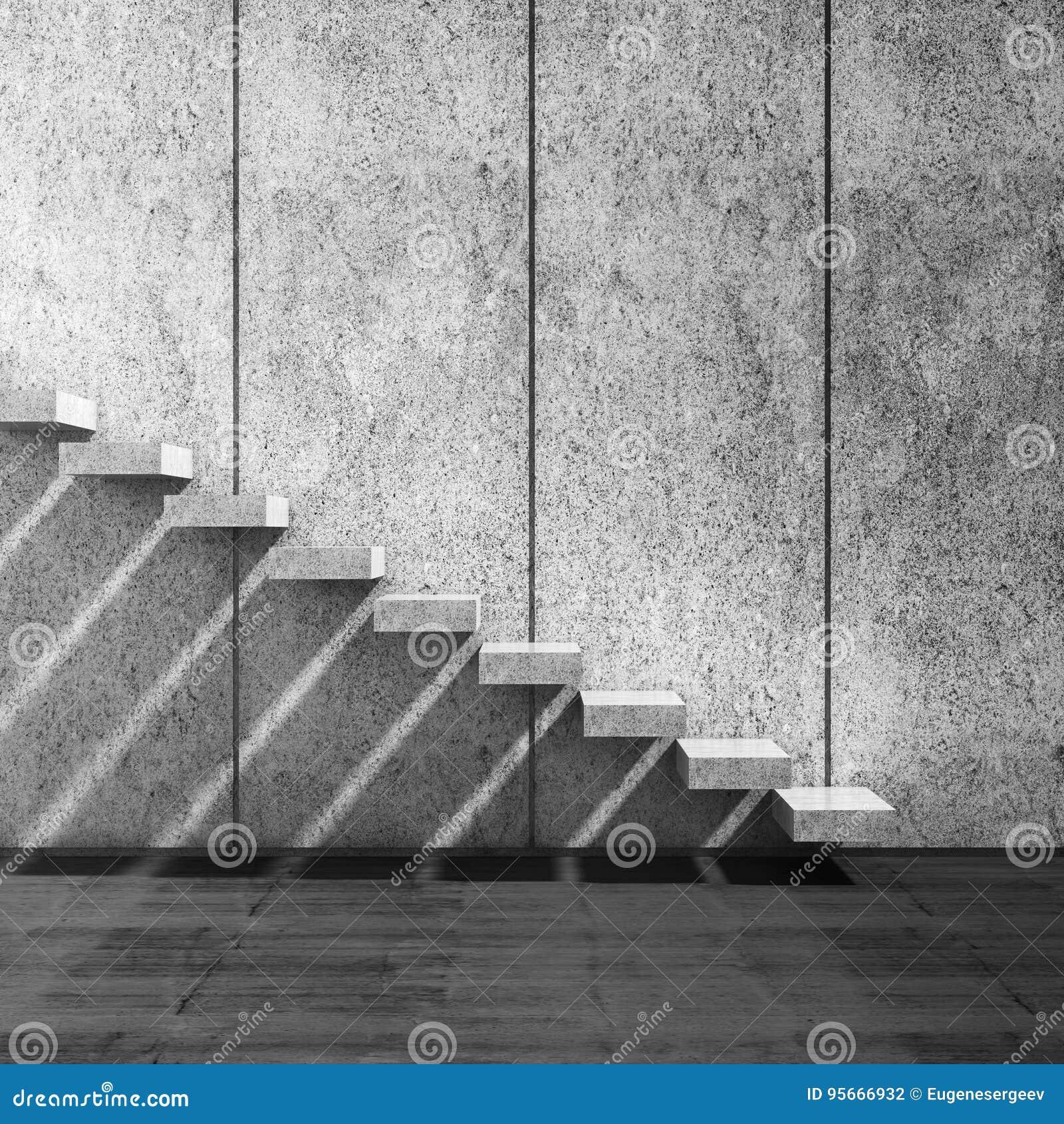 Escaliers concrets au-dessus de mur l illustration 3d rendent