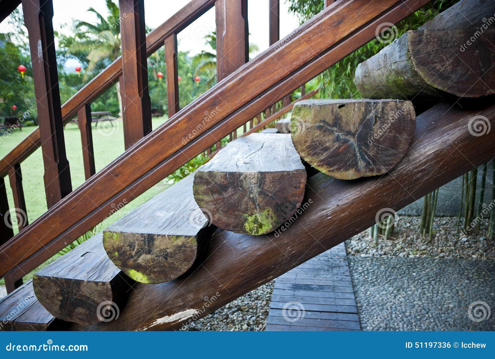 Escaliers en bois de rondins photo stock image 51197336 for Achat escalier bois