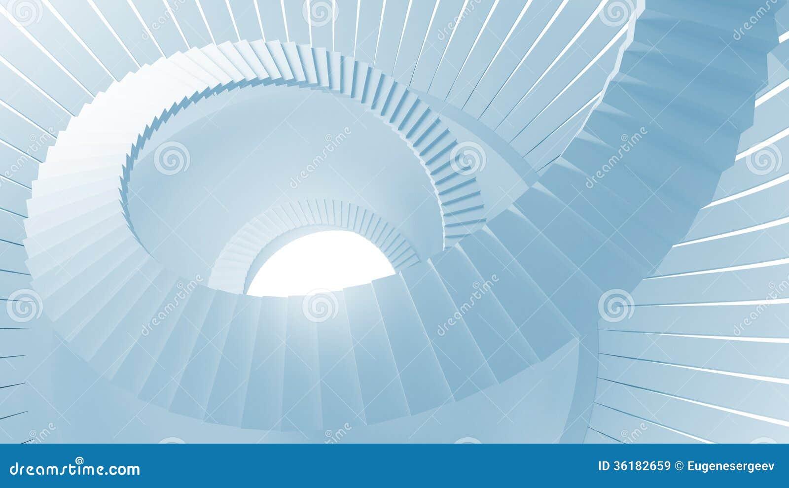 Escaliers en spirale dans l int rieur rond abstrait bleu for Interieur a la spirale