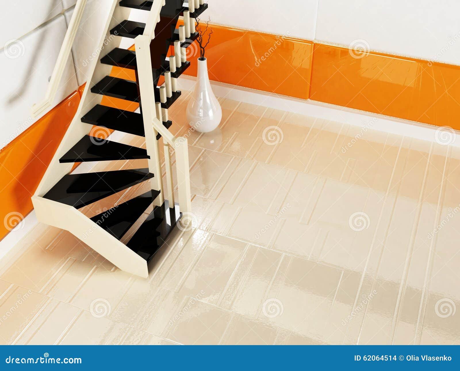 Escaliers noirs et blancs dans la salle vide illustration for Escalier dans le vide