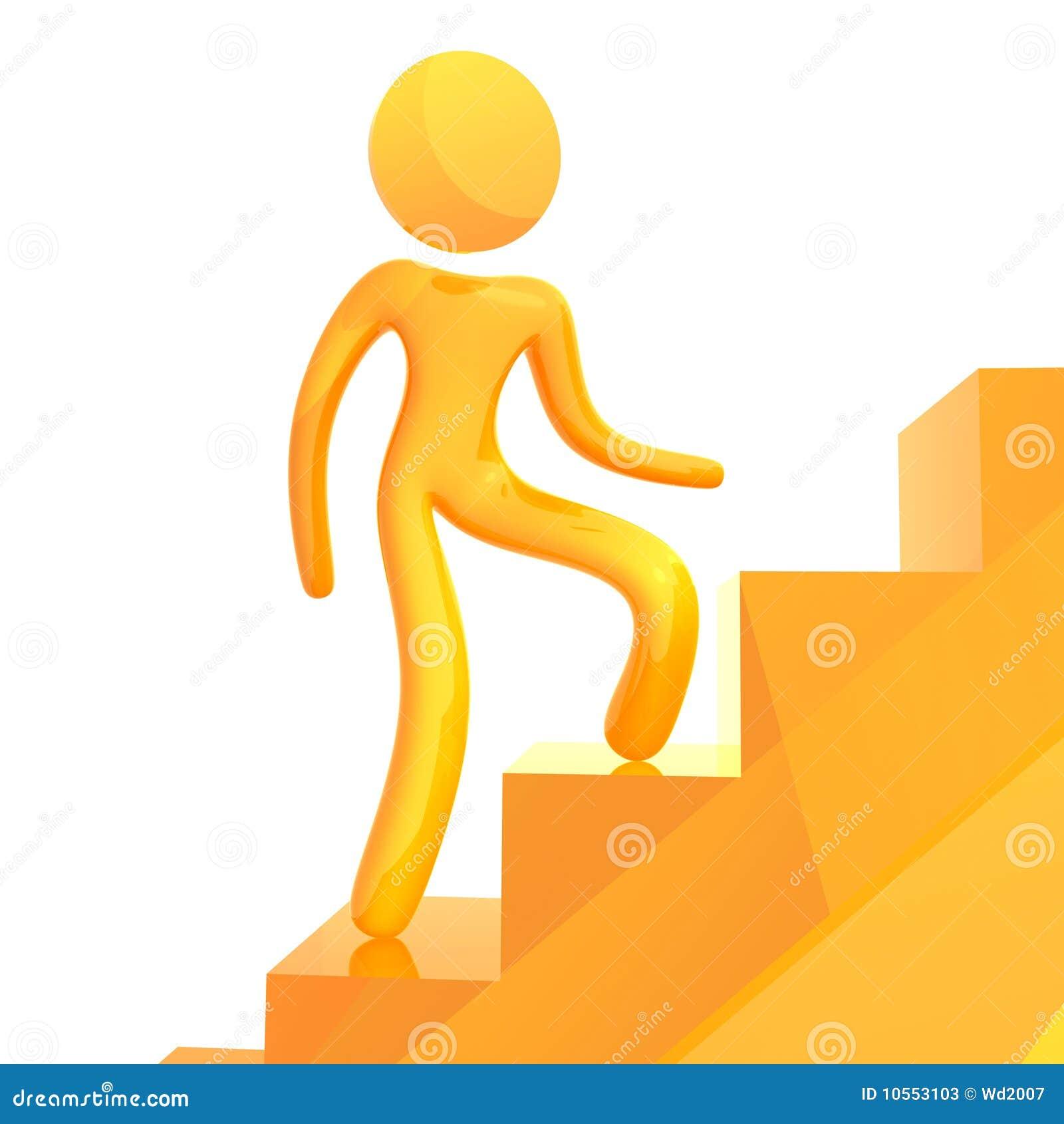 Escaliers s élevants de graphisme jaune élastique de humanoid