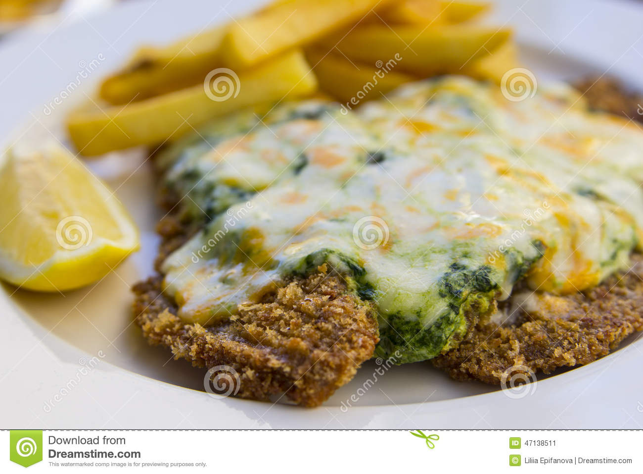 Escalope in spinazie