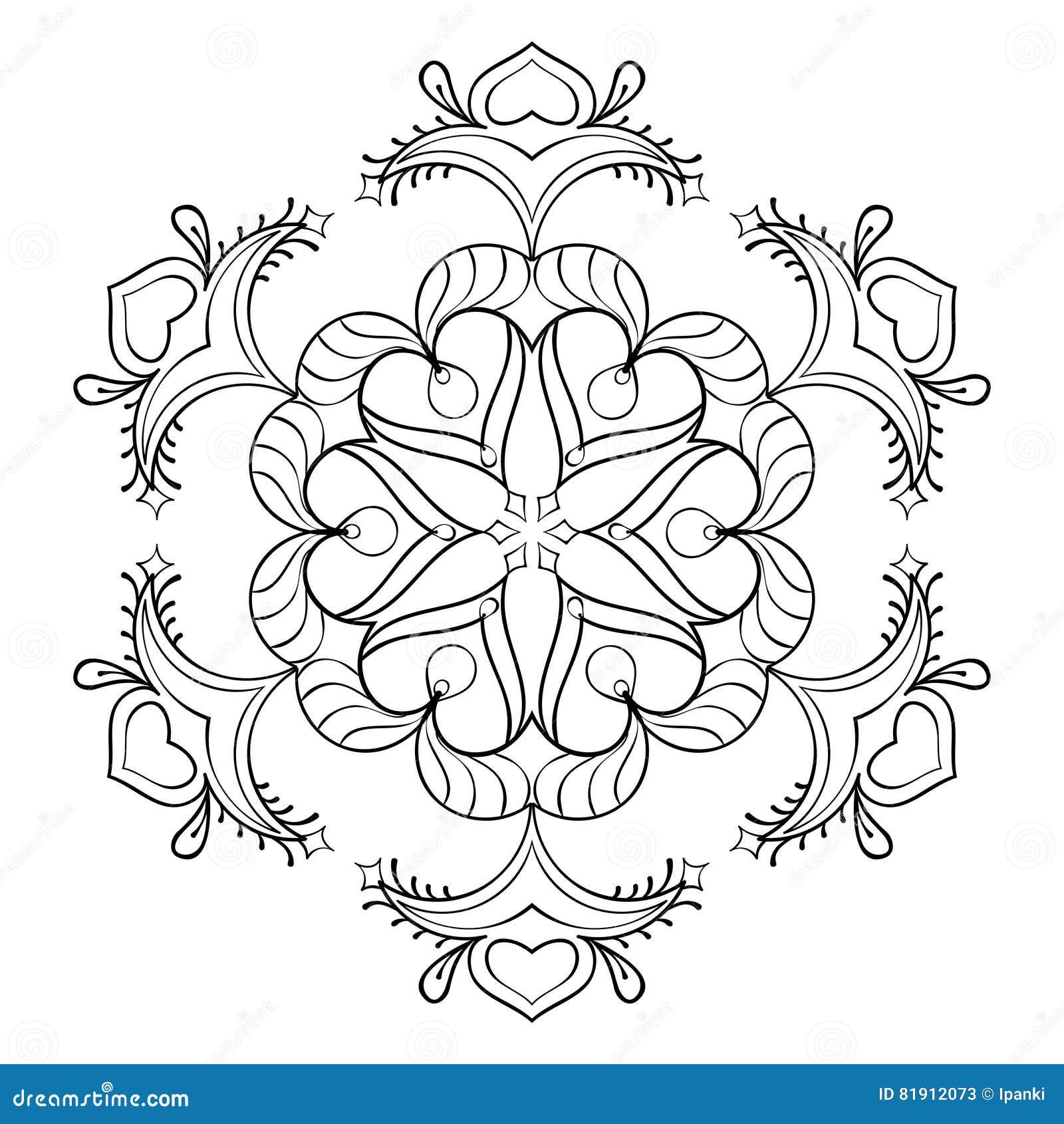 Escama De La Nieve Del Zentangle Del Vector, Mandala Elegante Para ...