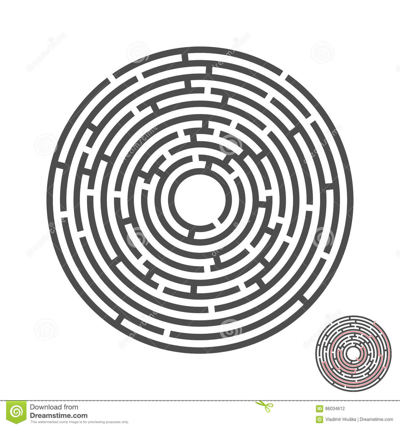 Escape circle labyrinth with entry and exit.vector game maze puzzle with solution.Num.02