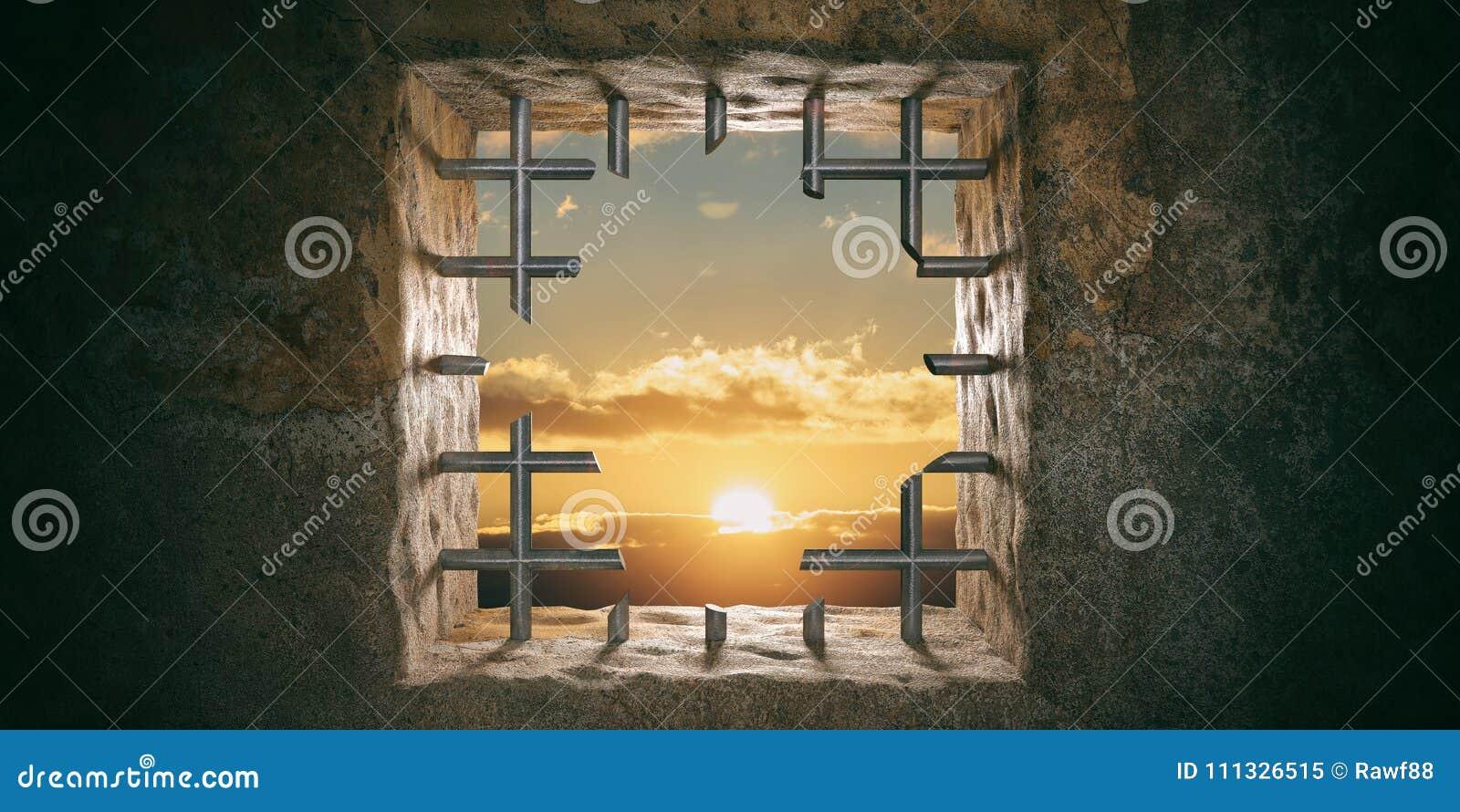 Escape, liberdade Prisão, janela com barras cortadas, por do sol da cadeia, opinião do nascer do sol ilustração 3D