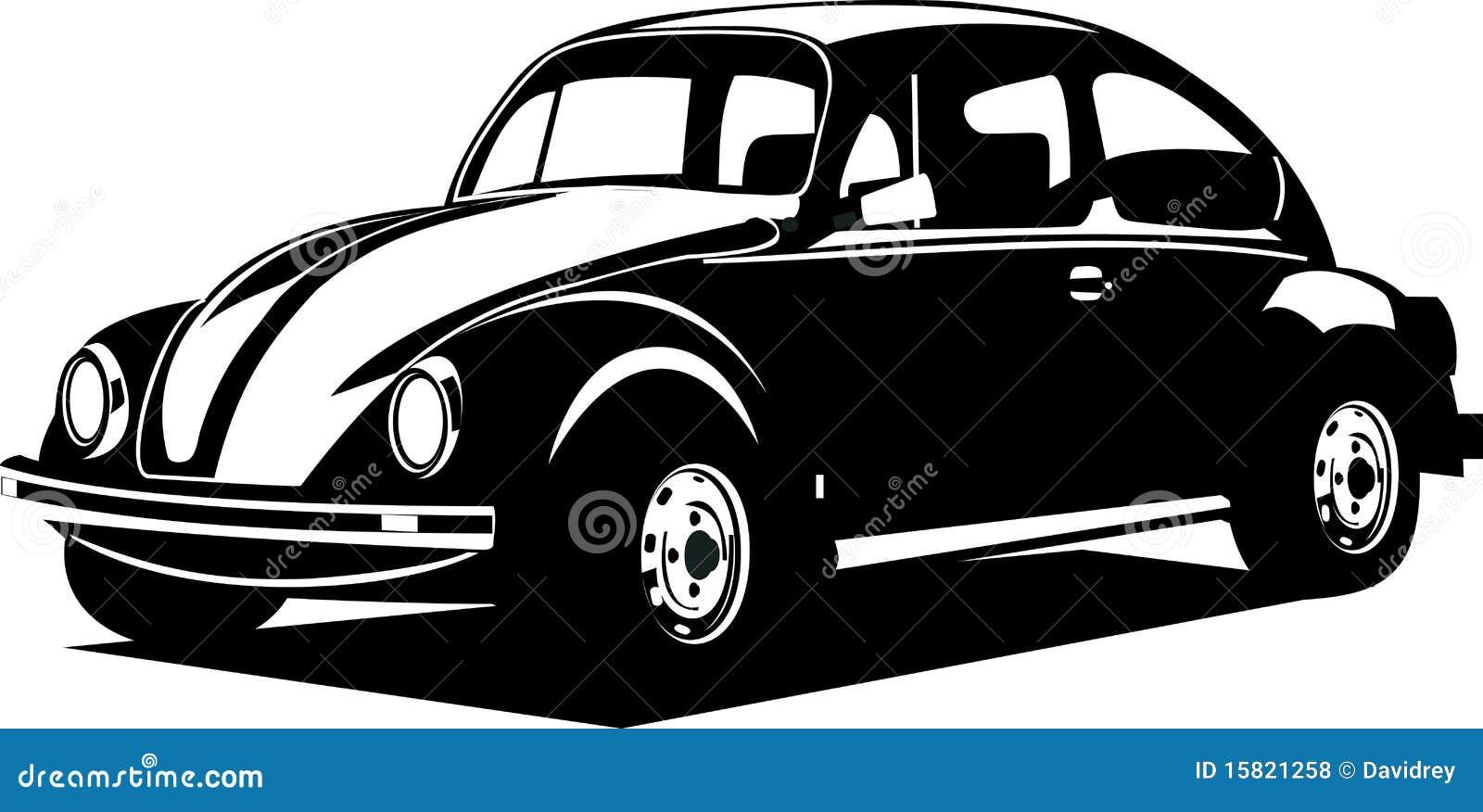 Escarabajo Blanco Y Negro De Volkswagen Ilustraci 243 N Del