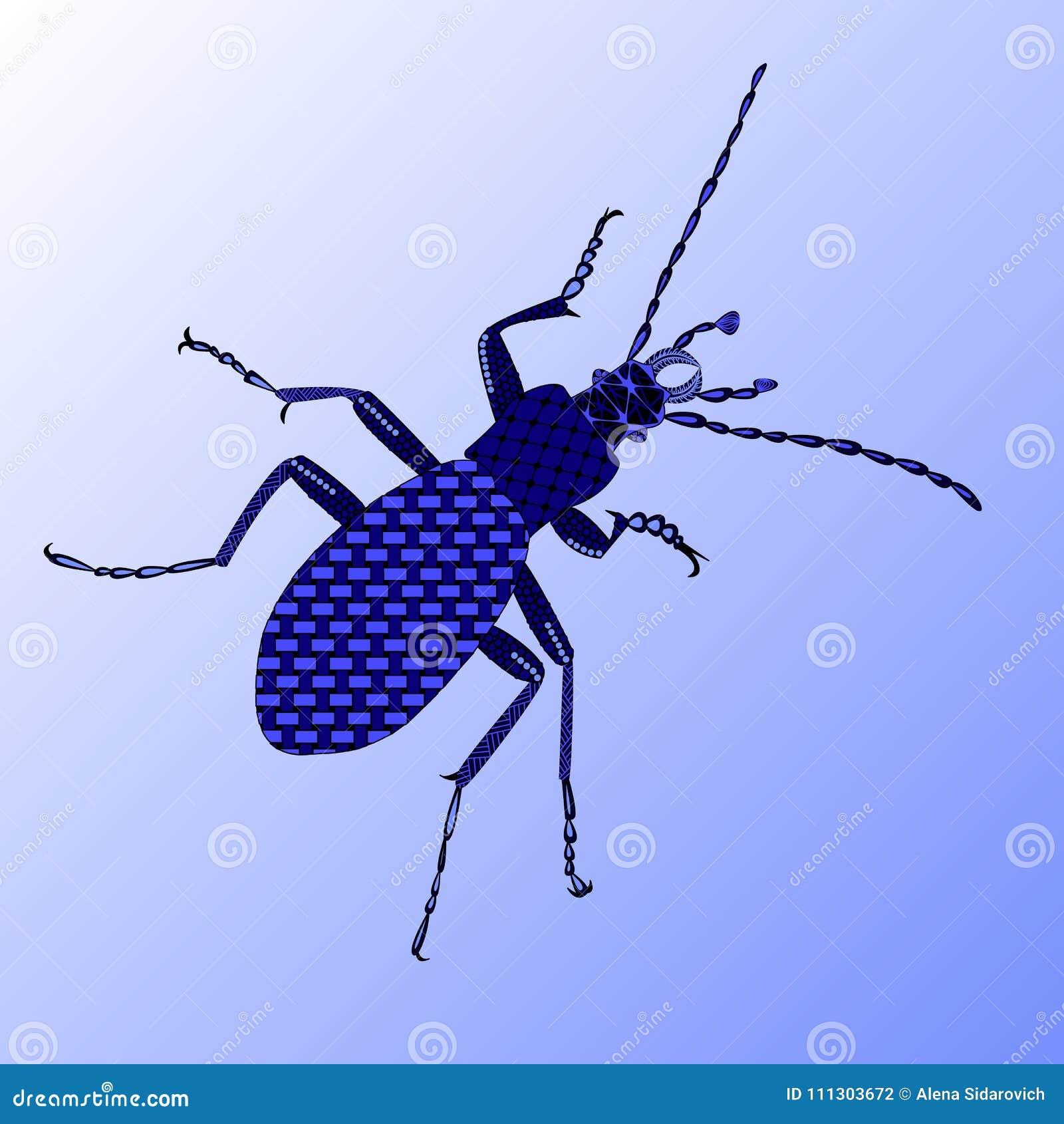 Escarabajo de tierra en un estilo del zenart, escarabajo azul en un backgroun azul
