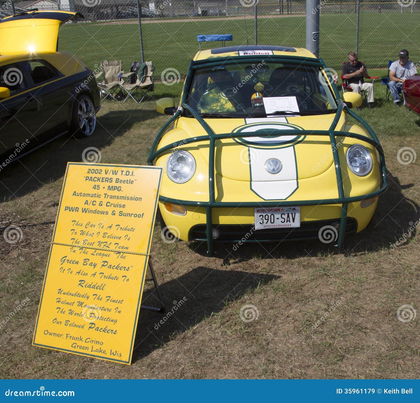 Escarabajo 2002 de VW de los Green Bay Packers