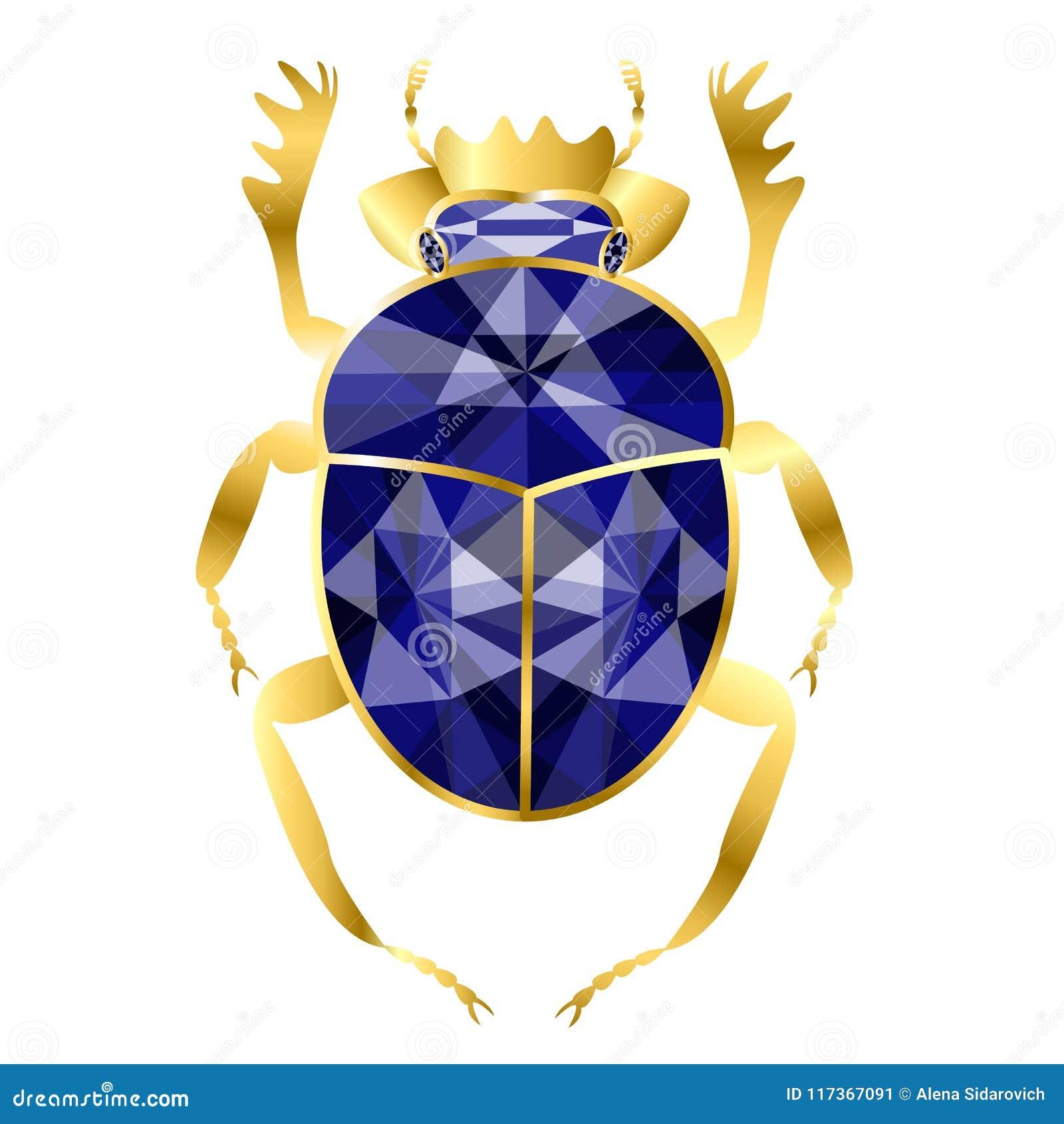 Escarabajo del escarabajo del oro y de los zafiros, joyería en el backg blanco
