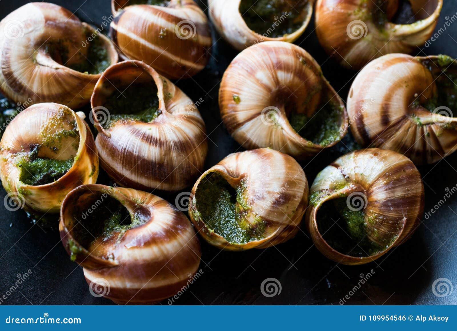Escargot de Bourgogne - alimento do caracol com manteiga de ervas, prato do gourmet de França