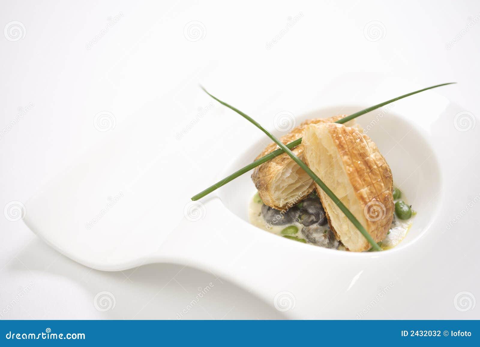 Escargot e pão do croute.