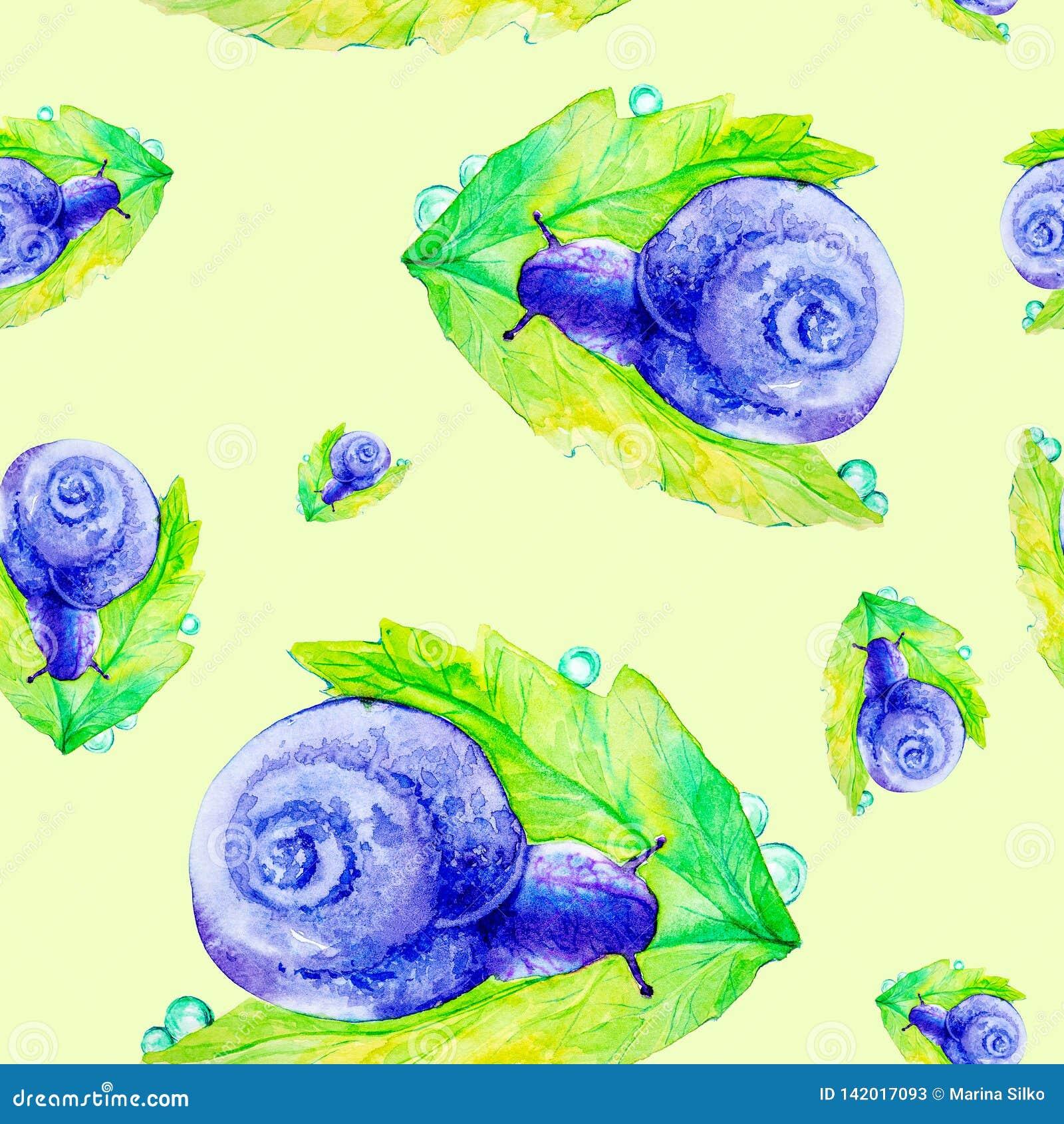 Escargot pourpre abstrait sur une grande feuille verte Illustration d aquarelle d isolement sur le fond jaune Configuration sans