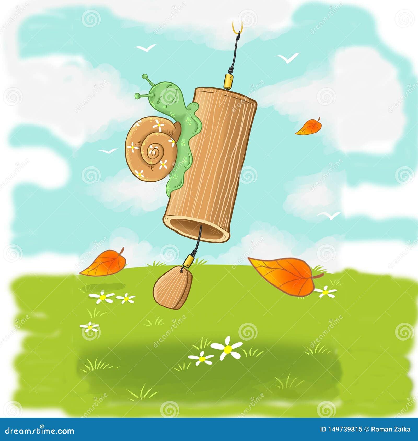Escargot sensible amical sur Bells en bambou