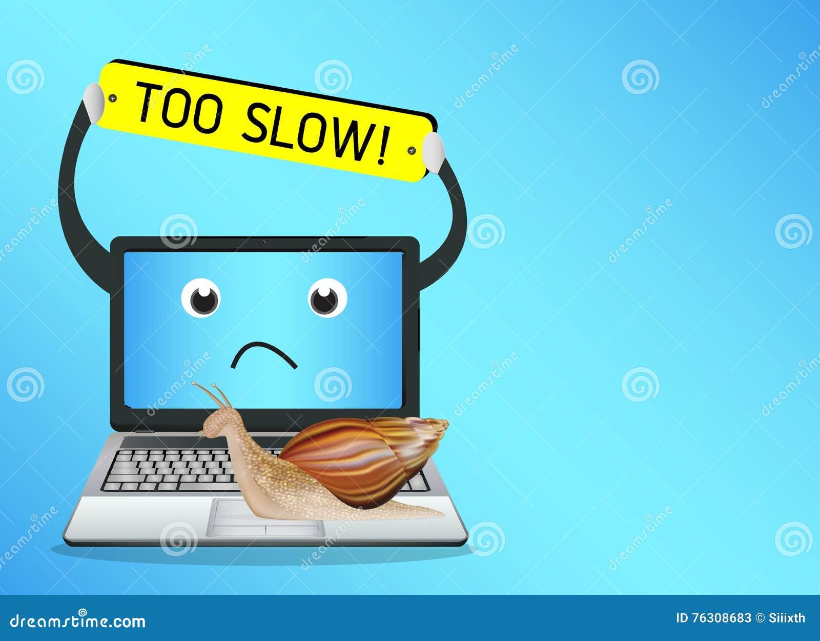 Escargot sur un ordinateur portable lent