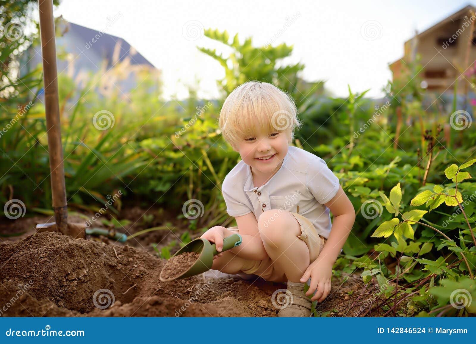 Escavação do rapaz pequeno que trabalha com pá no quintal no dia ensolarado do verão Ajudante pequeno da mamã